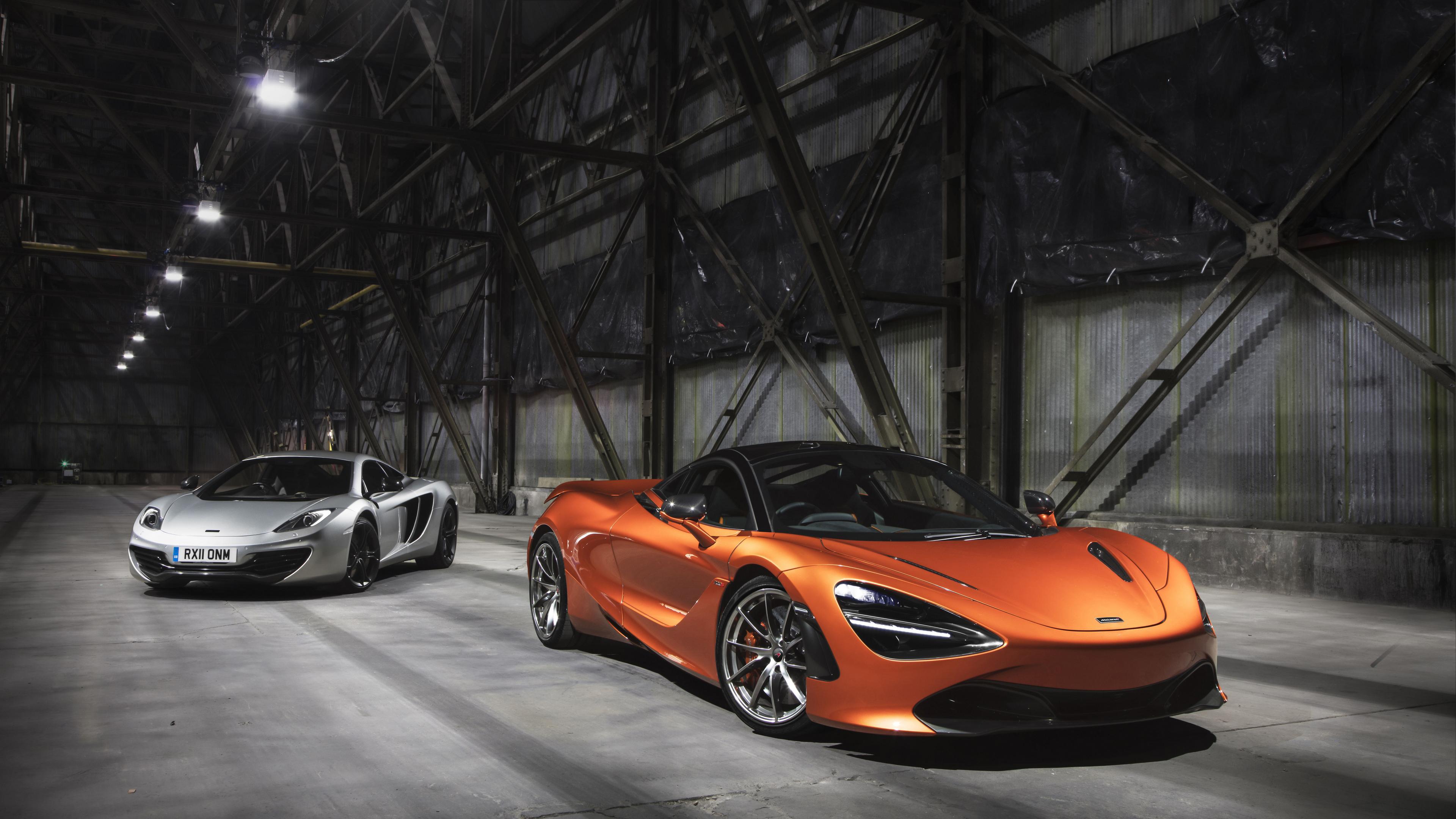 Автомобили оранжевый и серый