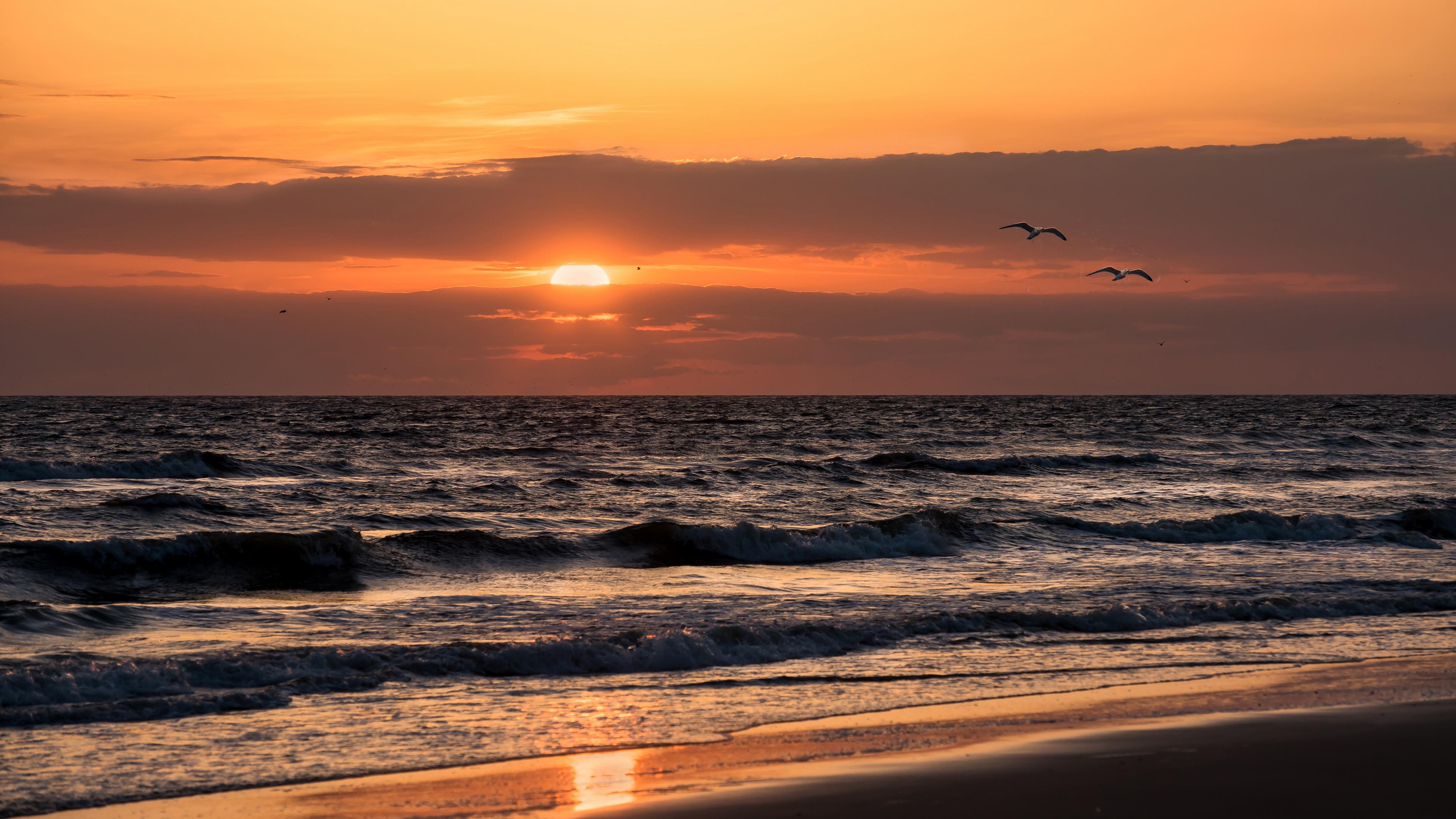 Оранжево-рыжий закат солнца