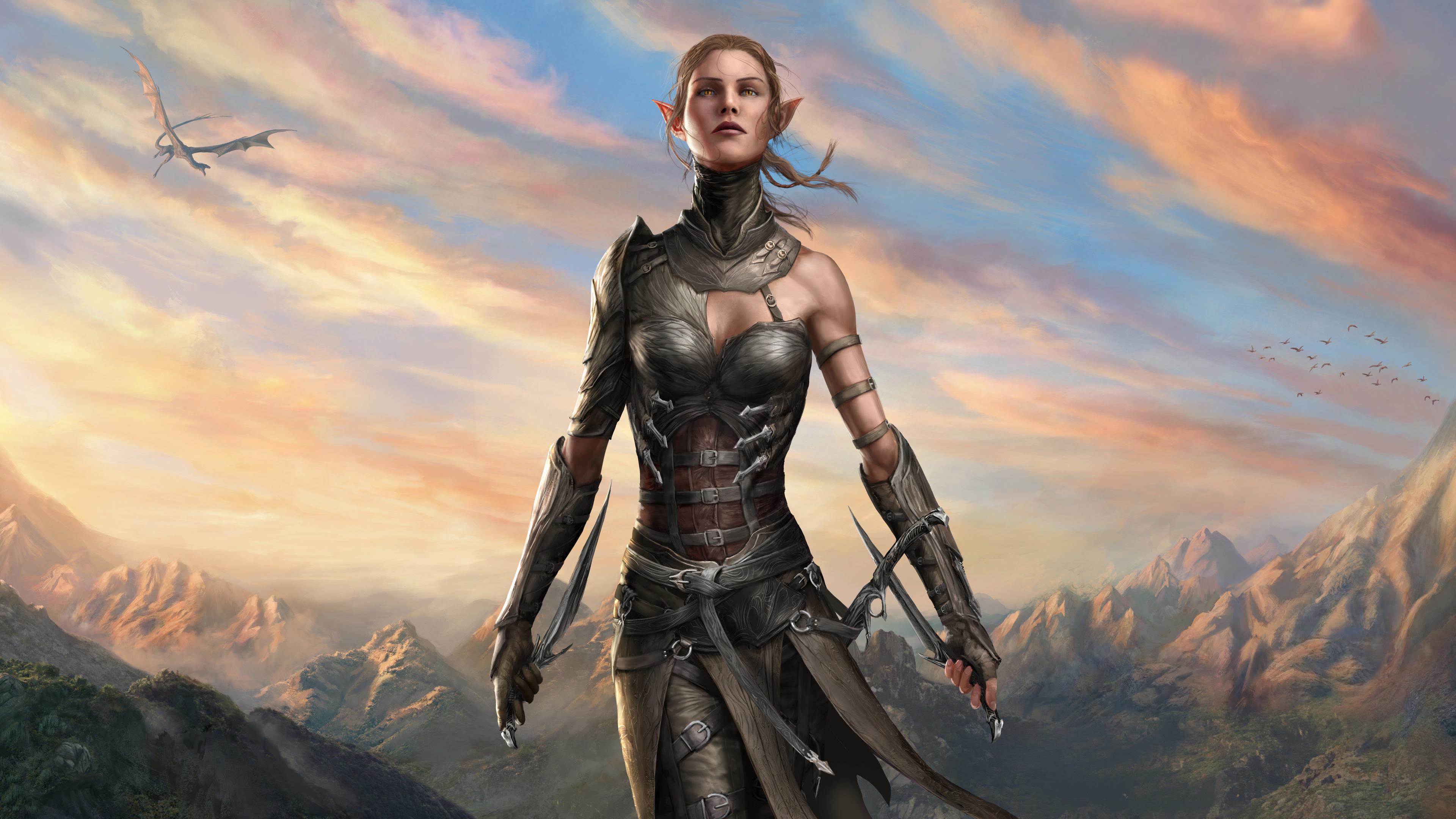 Девушка-воин среди горных вершин