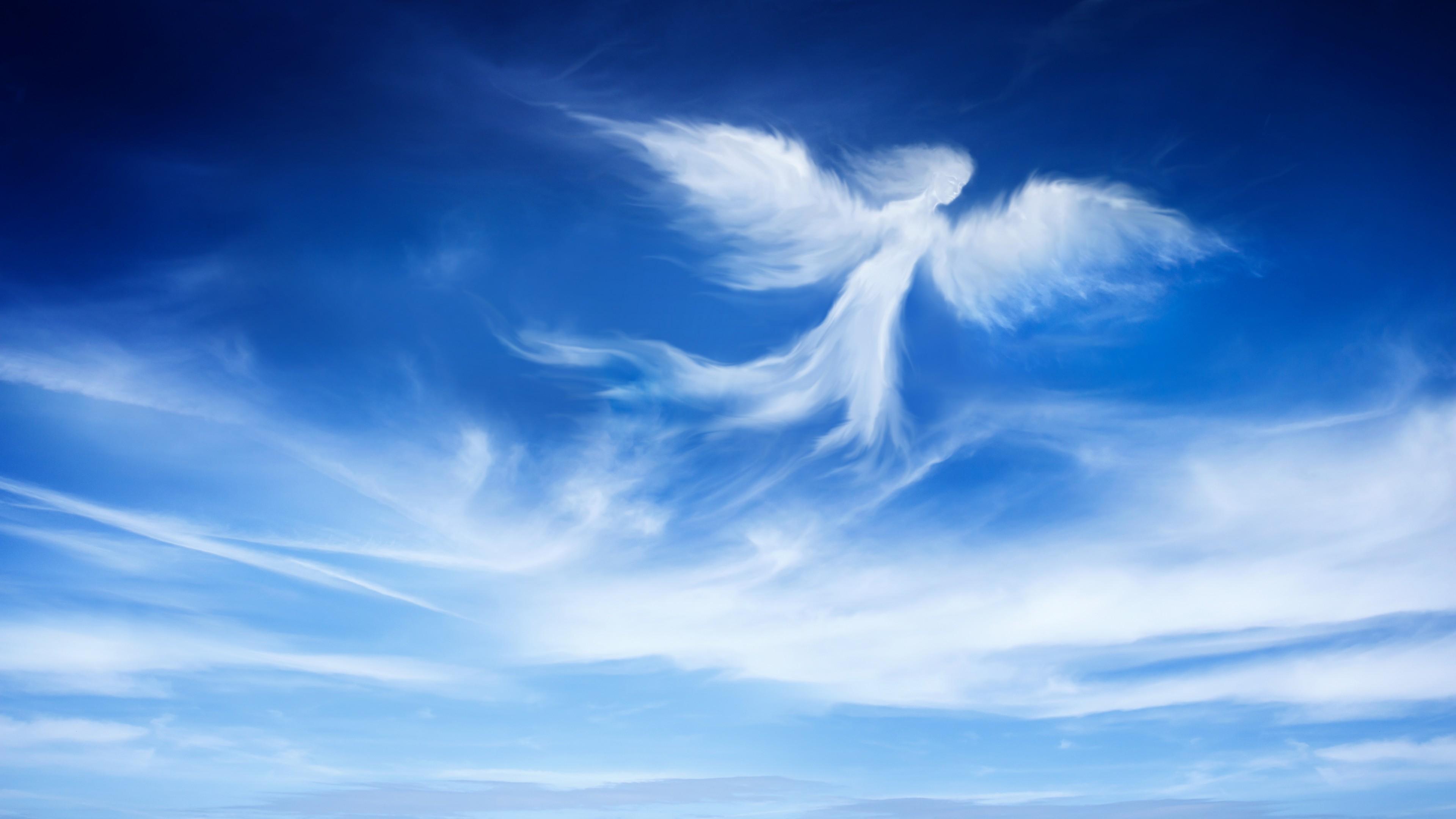 Ангел-птица парит над облаками
