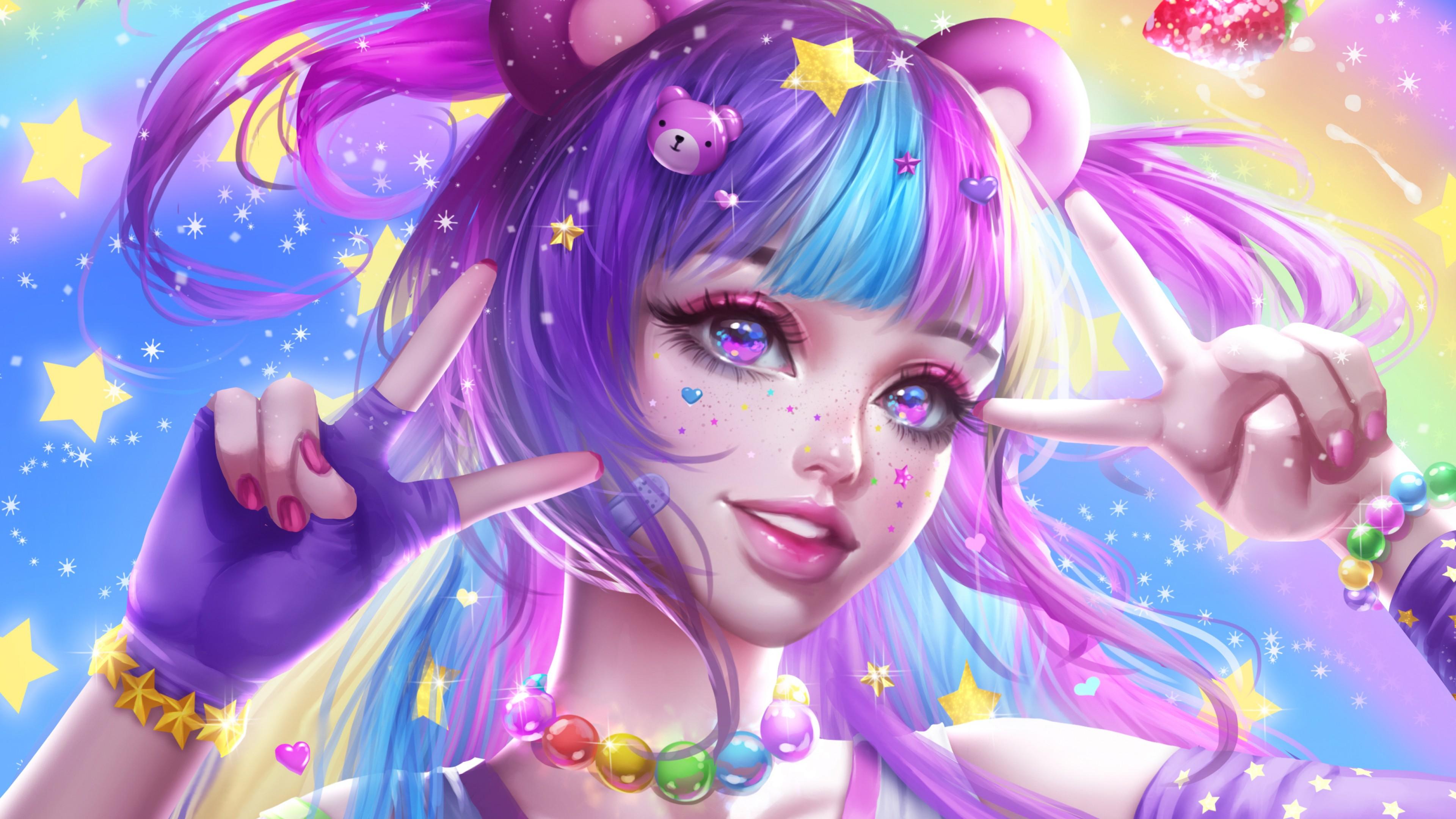 Девочка с цветными волосами и выразительными глазами