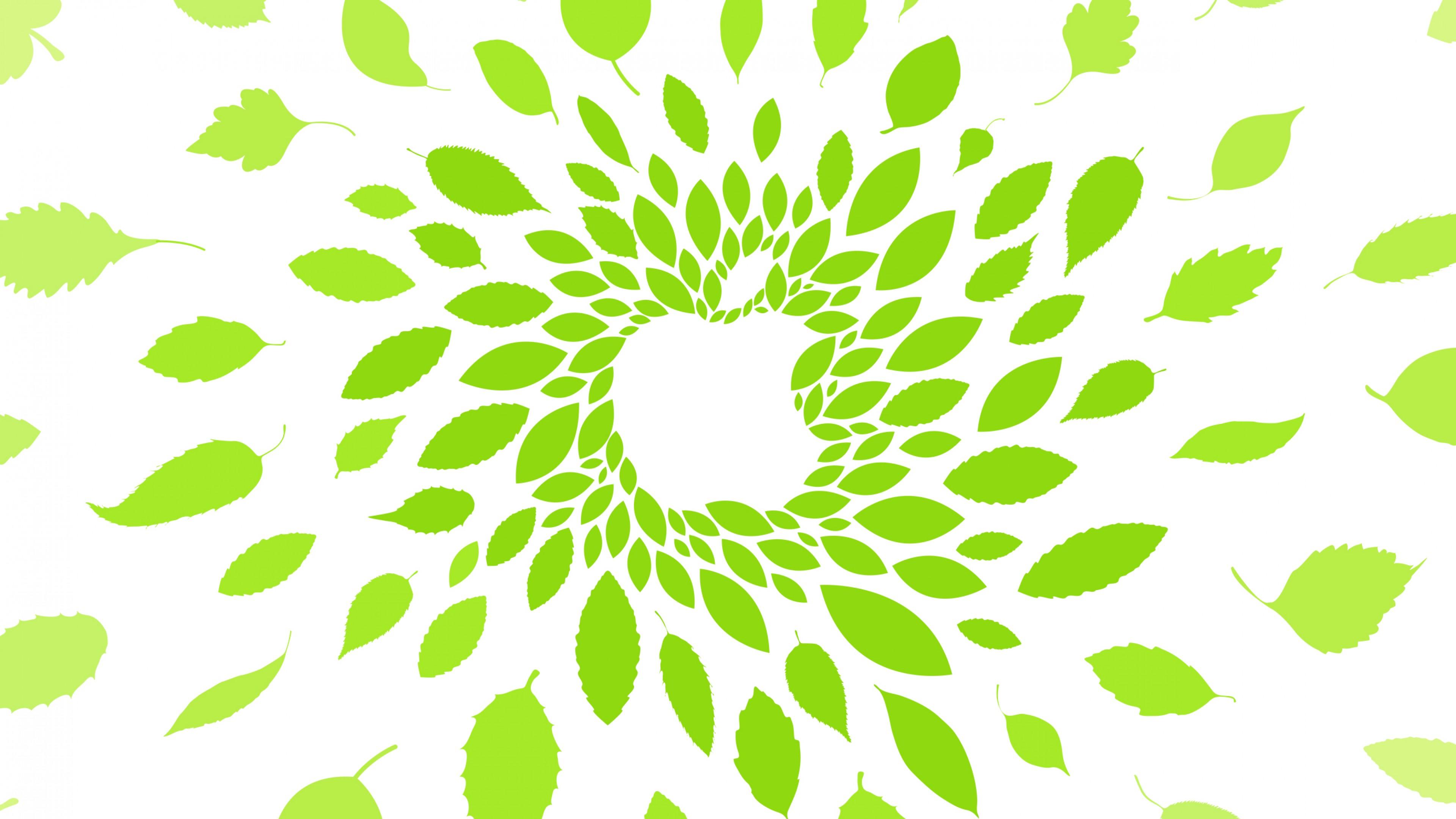 Логотип Белое яблоко и ярко-зеленые листья