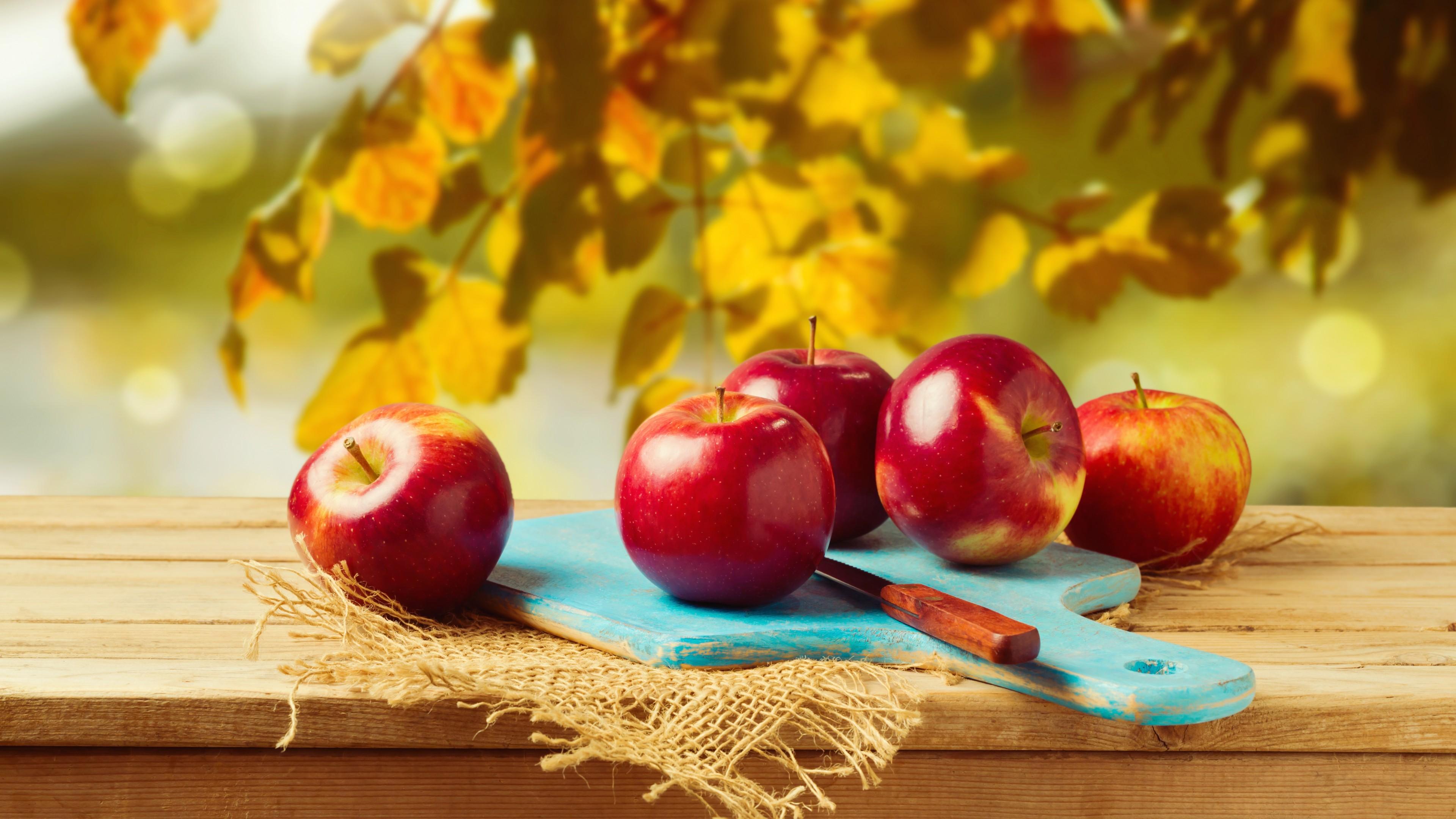 Красные спелые яблочки в осенних лучах солнца