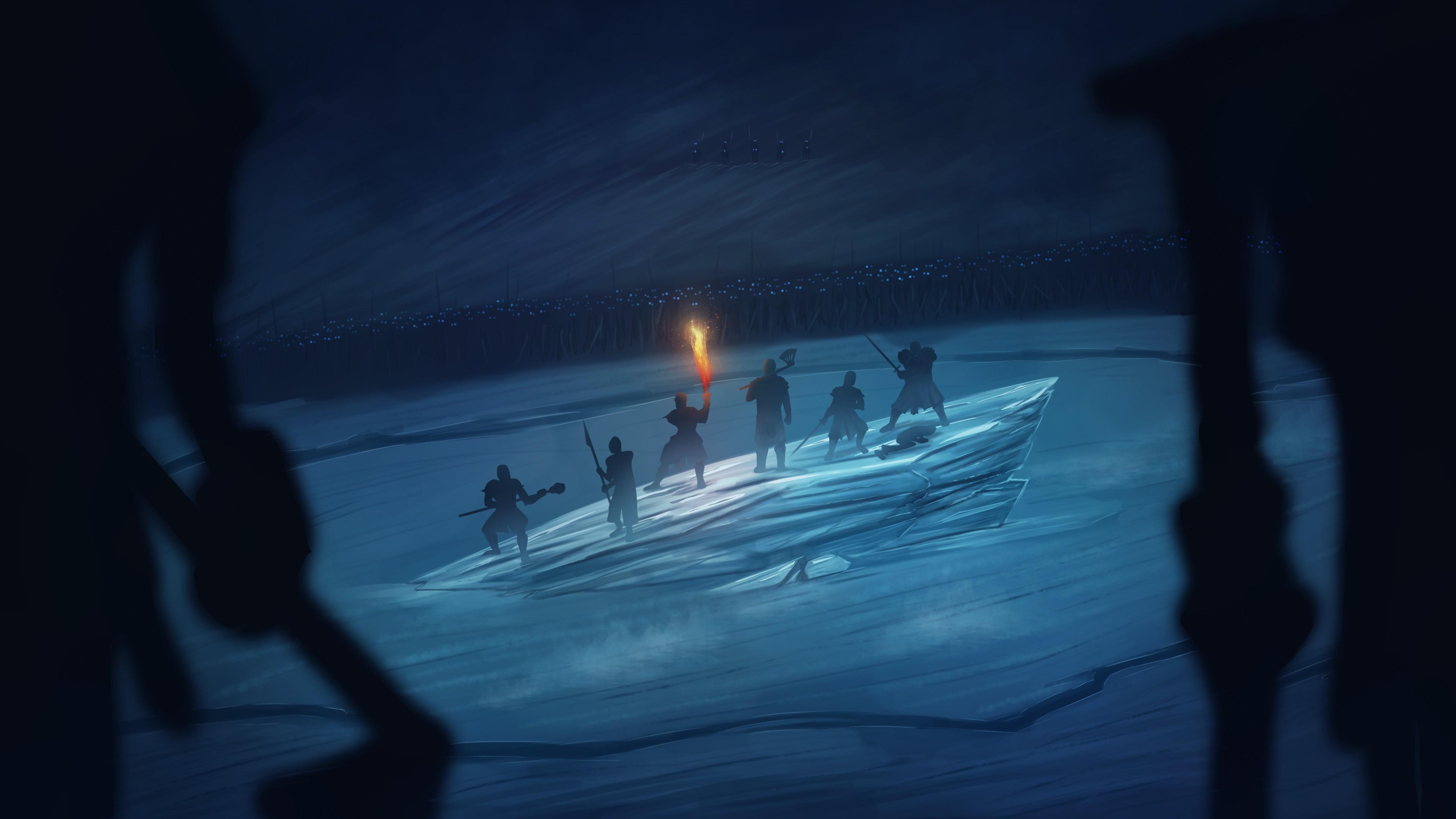 Воины на дрейфующей льдине в темноте