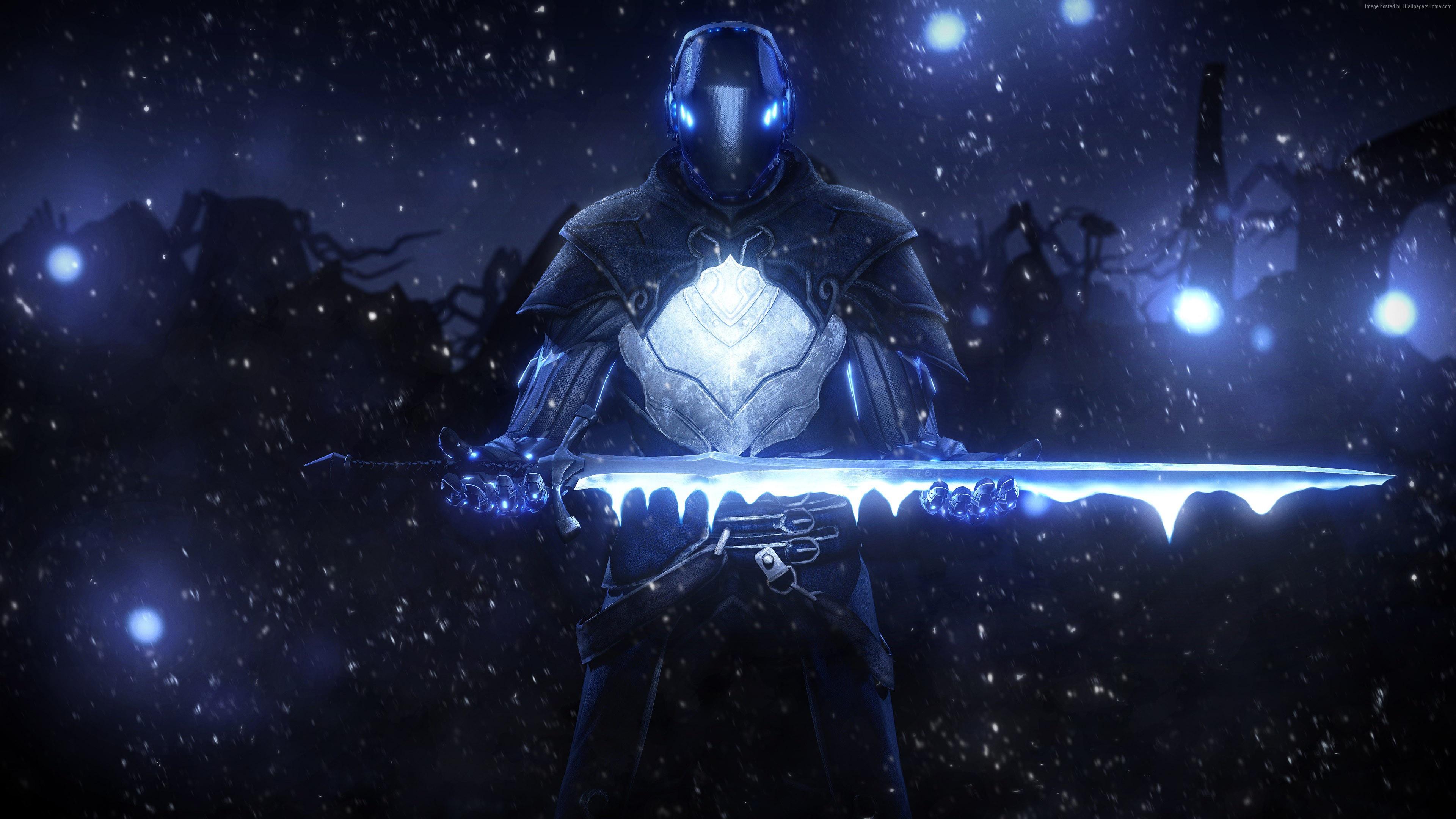 Фантастический воин с мечом в руках