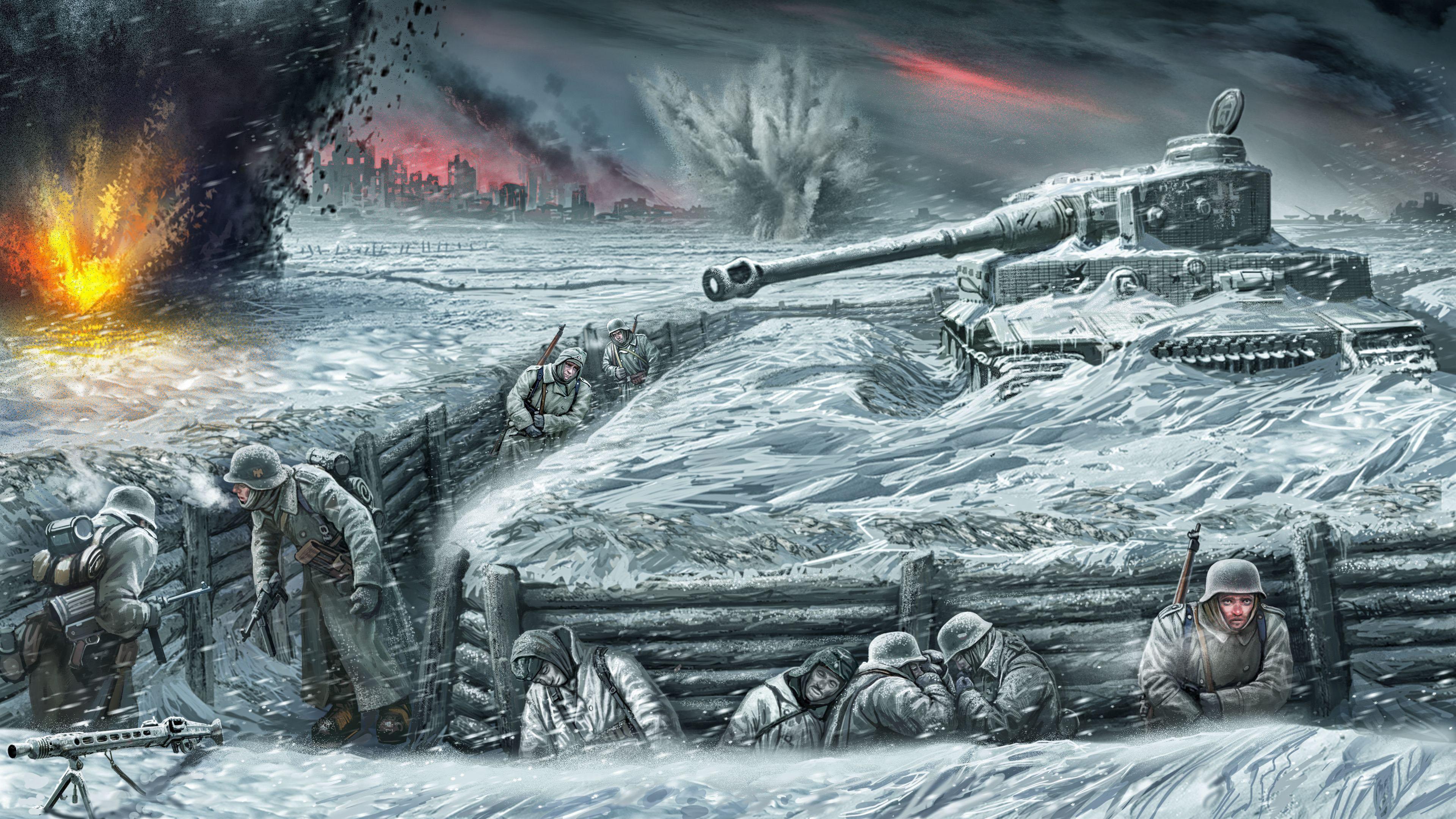 Танк в заснеженных сугробах,немцы в окопах прячутся от взрывов и холода