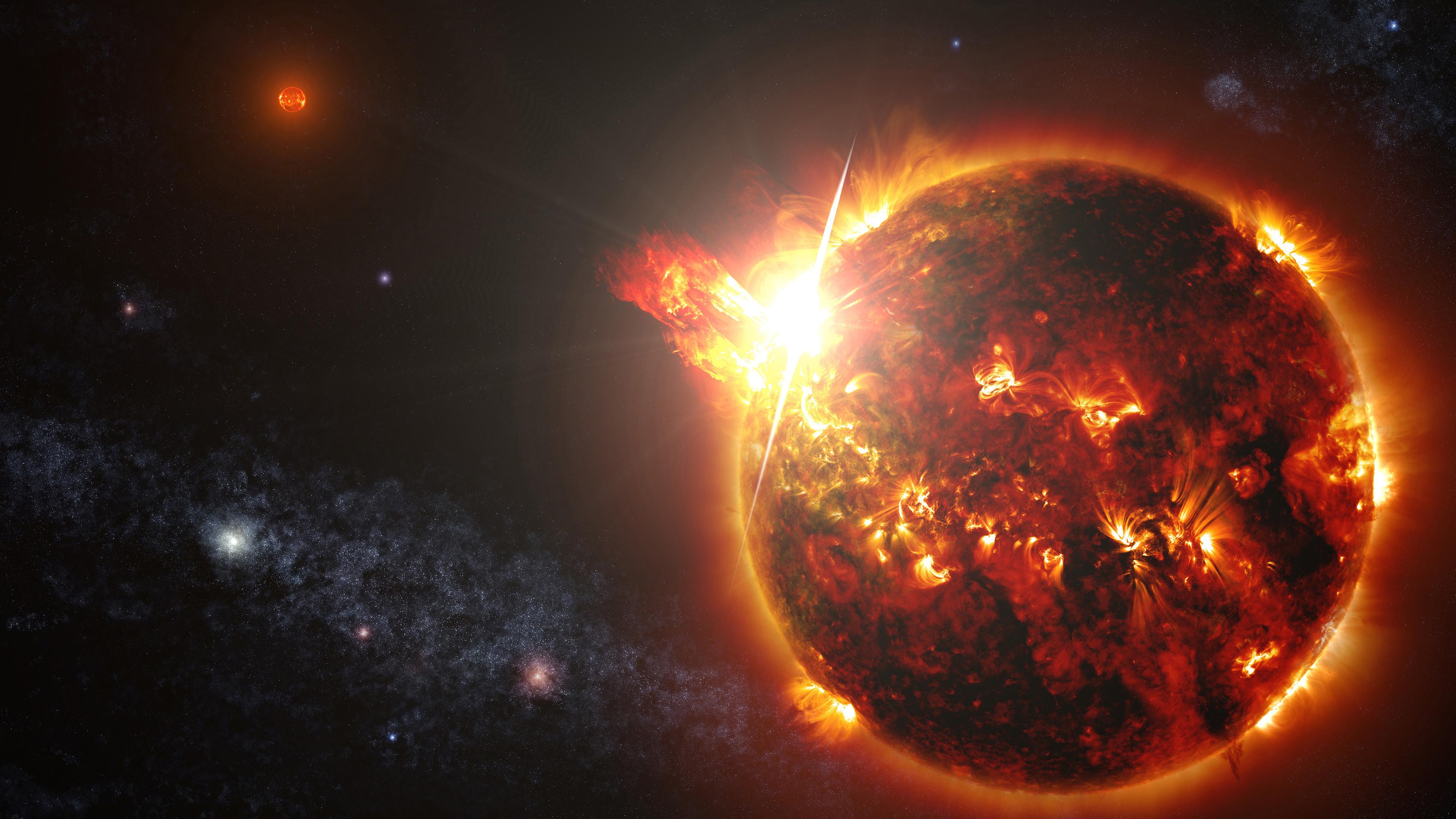Планета во вселенной в отражении солнечных лучей,ярких сияющих звезд