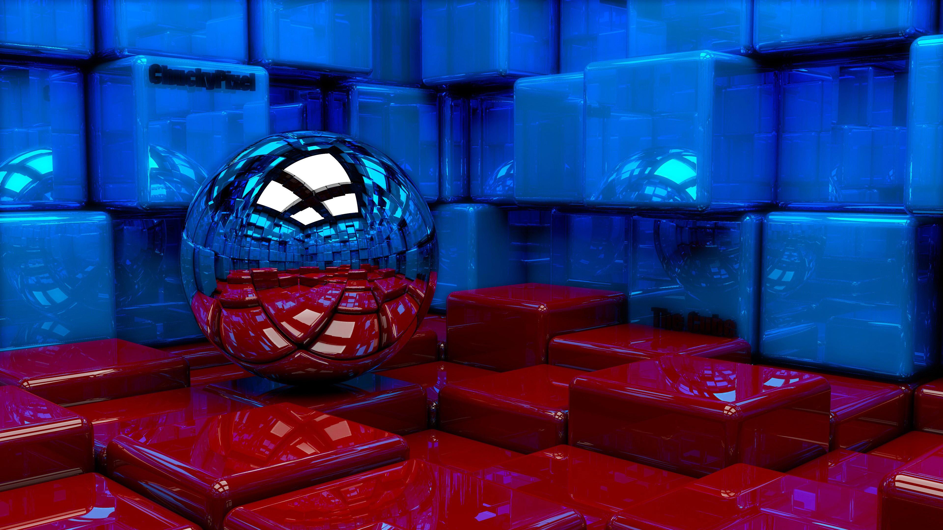 Яркие,блестящие кубики красного и синего цвета отражаются в зеркальном шаре
