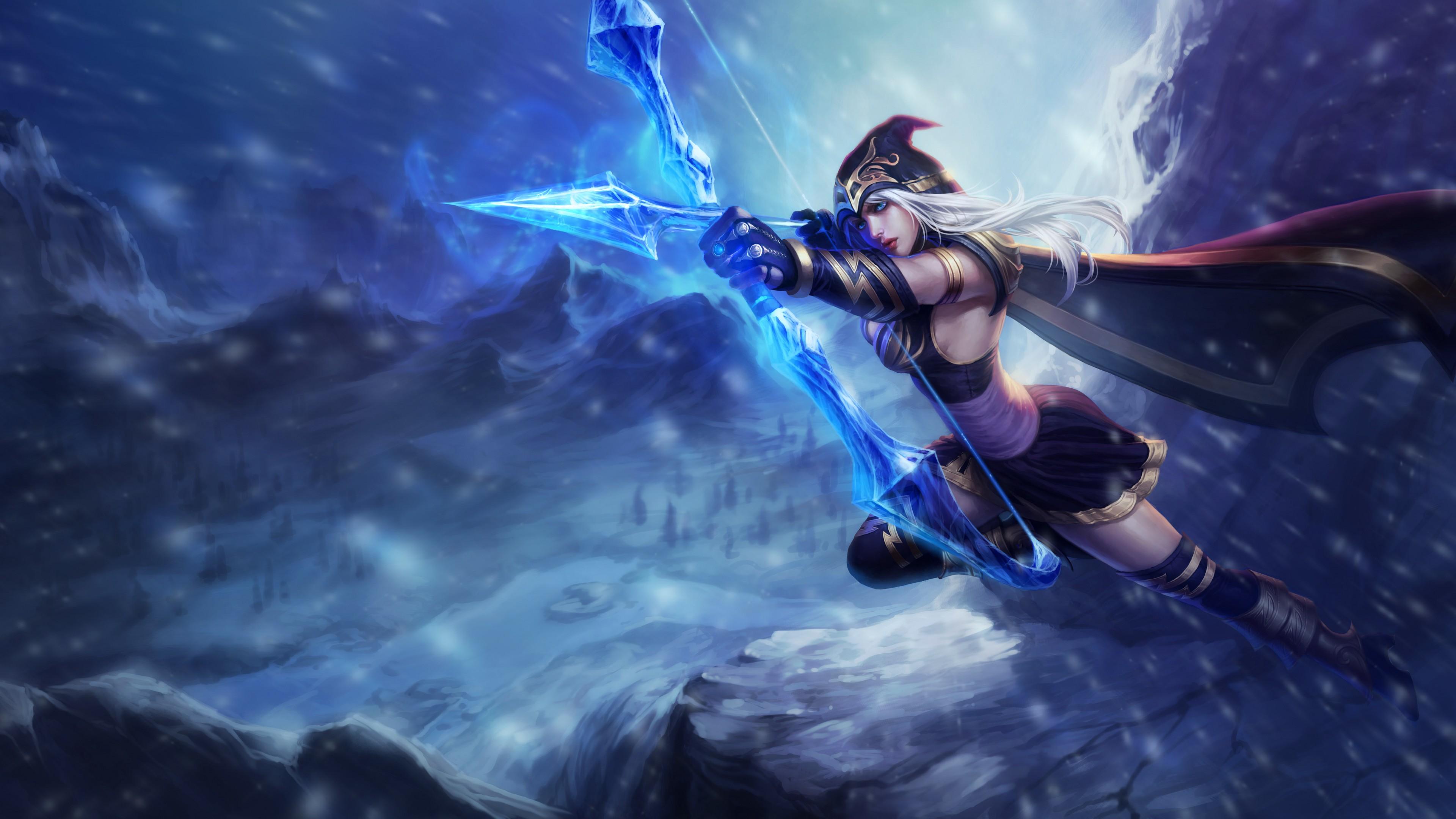 Девушка среди горных звездных вершин с луком и огненной стрелой