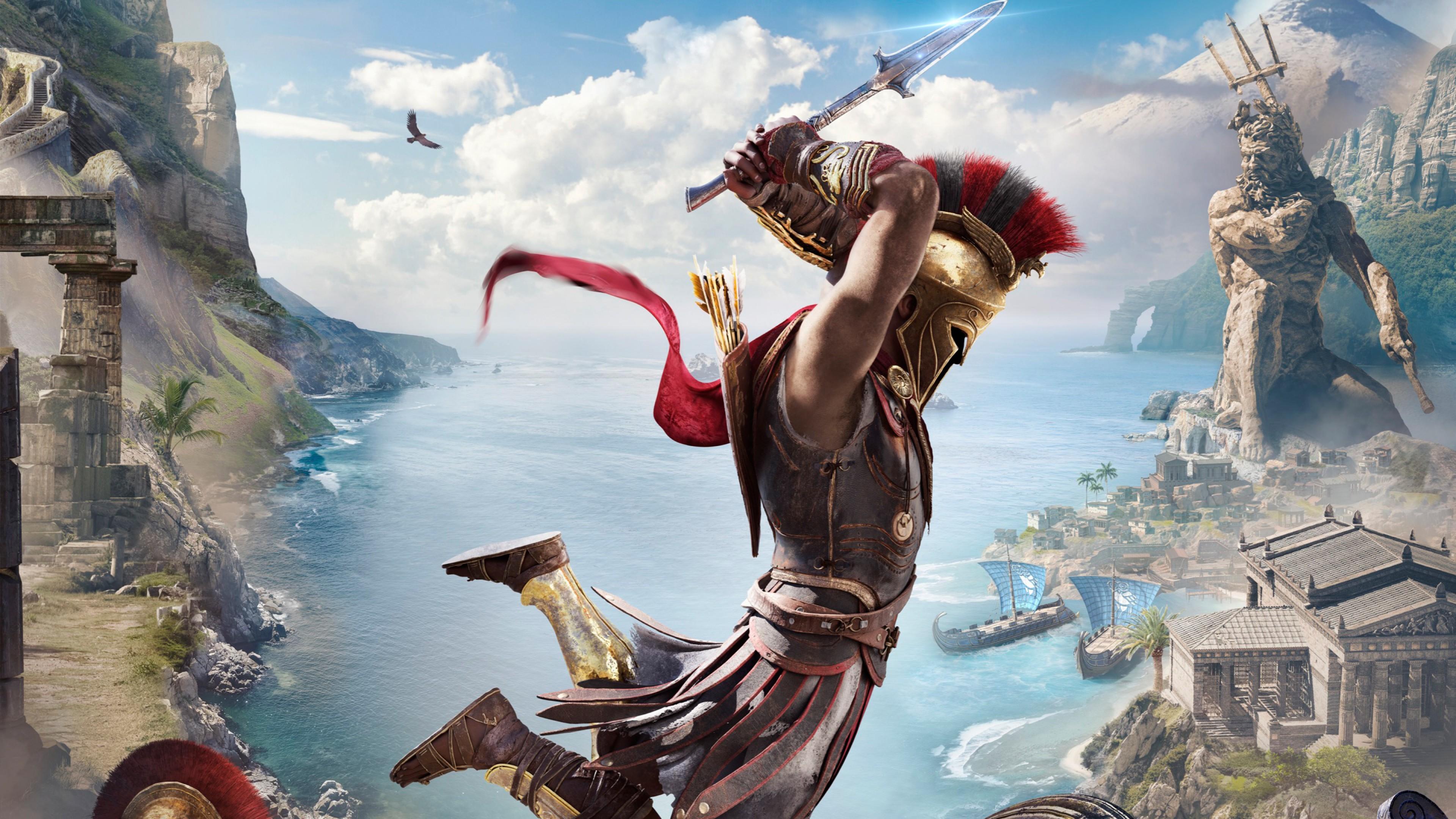 Воин-спартанец с кинжалом парит над морем,кораблями и статуей Нептуна
