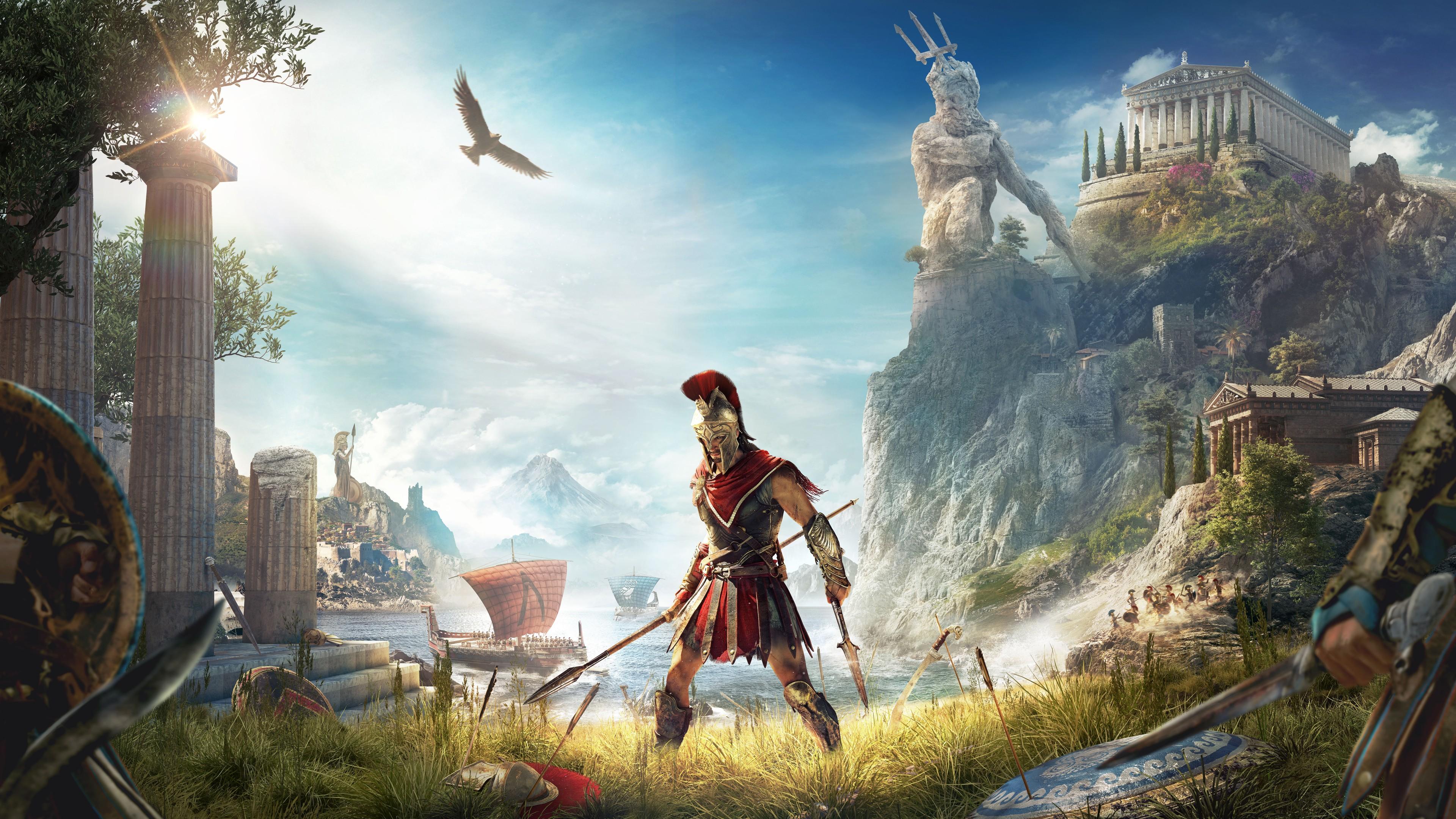 Спартанец-воин в доспехах ,шлеме и копьем на морском побережье