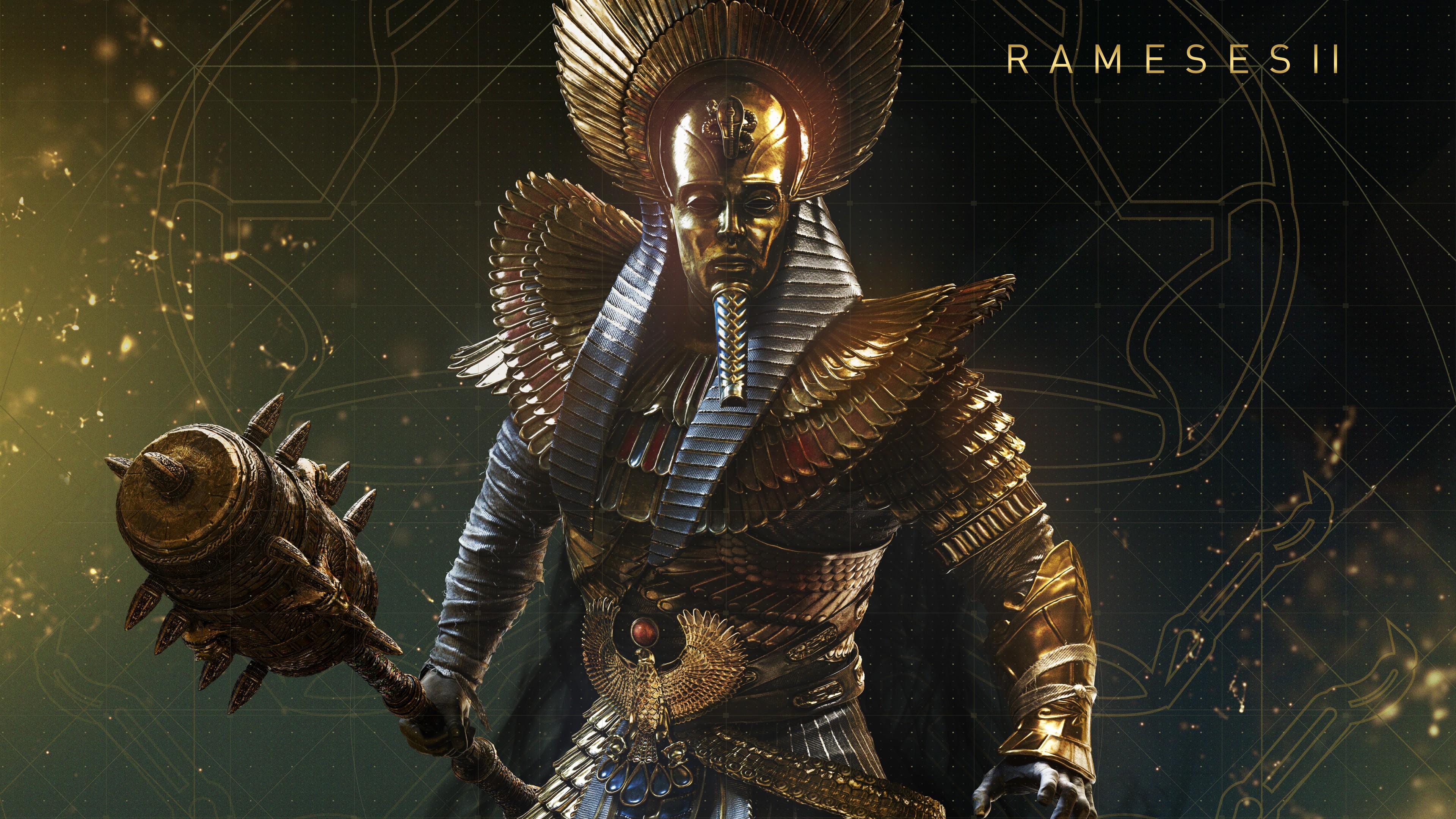 Великий фараон,победитель в золотой маске,доспехах с оружием в руках