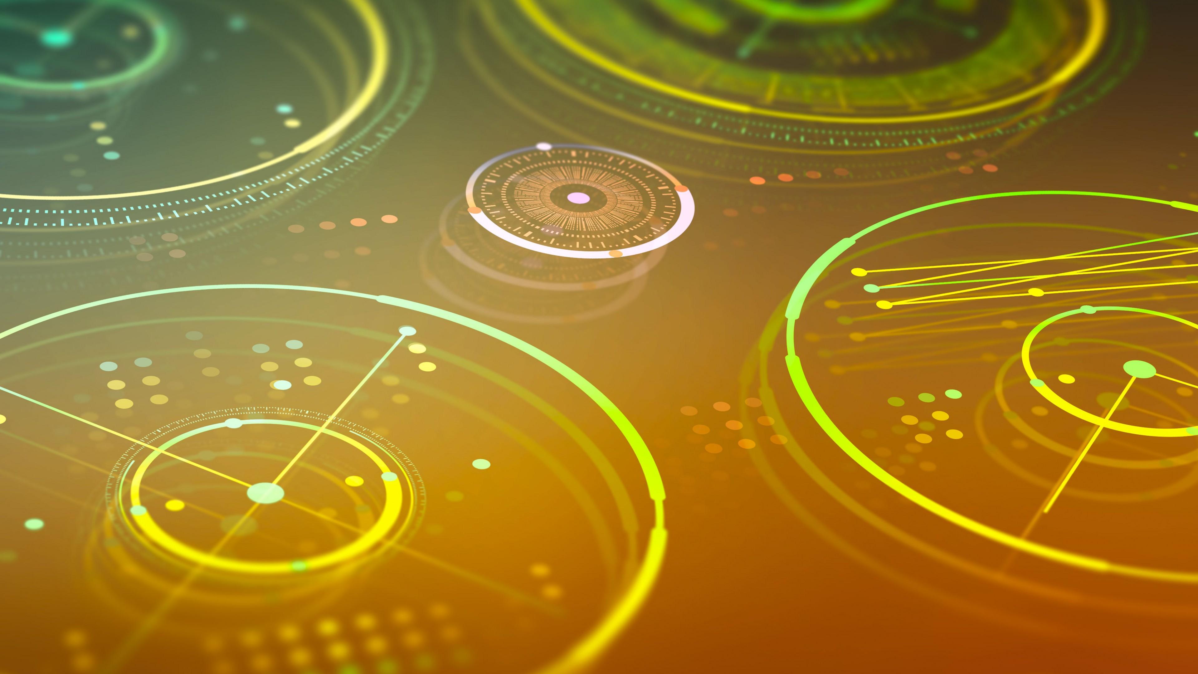 Компьютерная графика и неоновых золотисто-зеленых окружностях с векторами