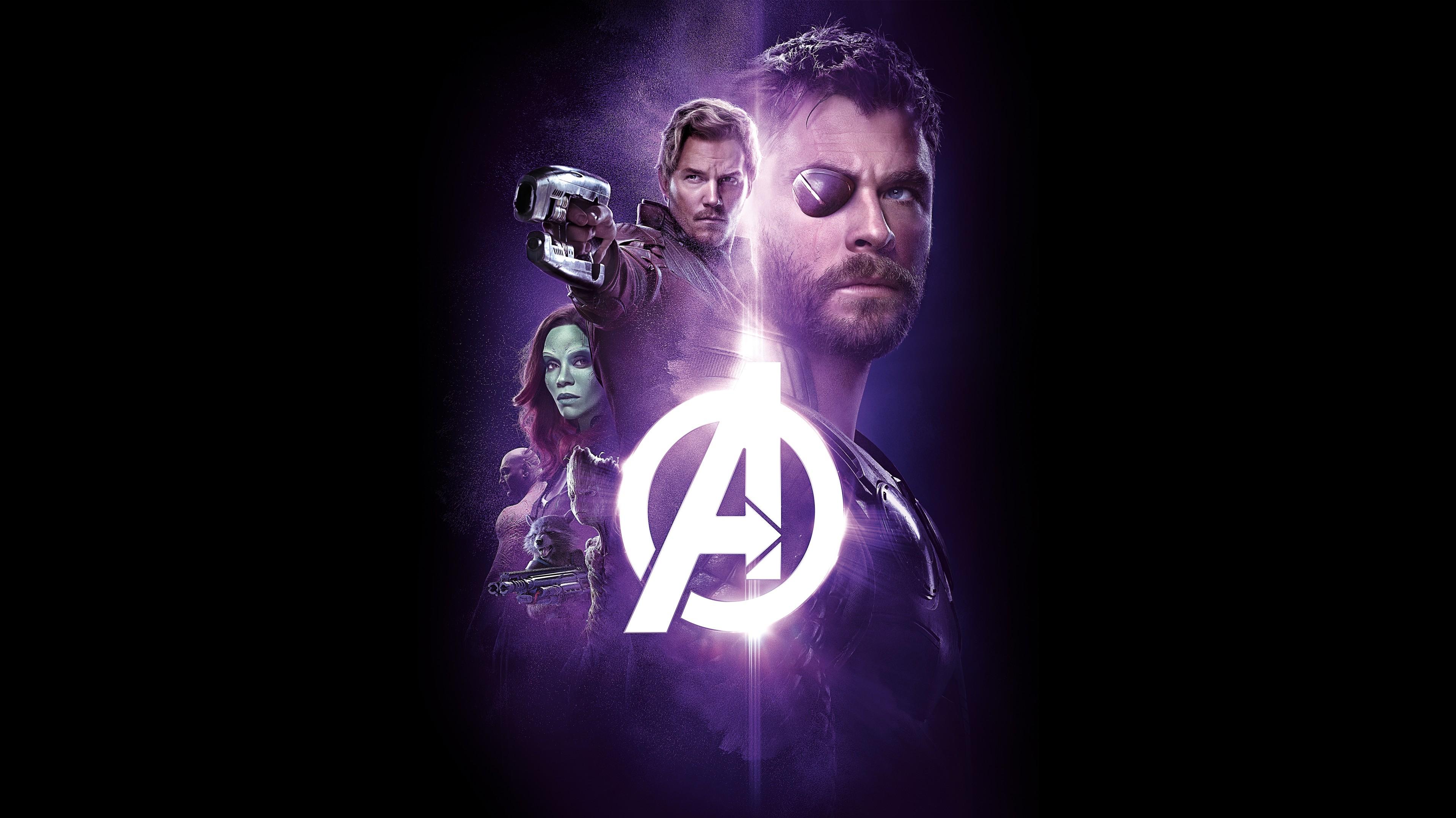 Реклама главных героев в расплывчато-фиолетовом цвете и логотипом А на черном фоне