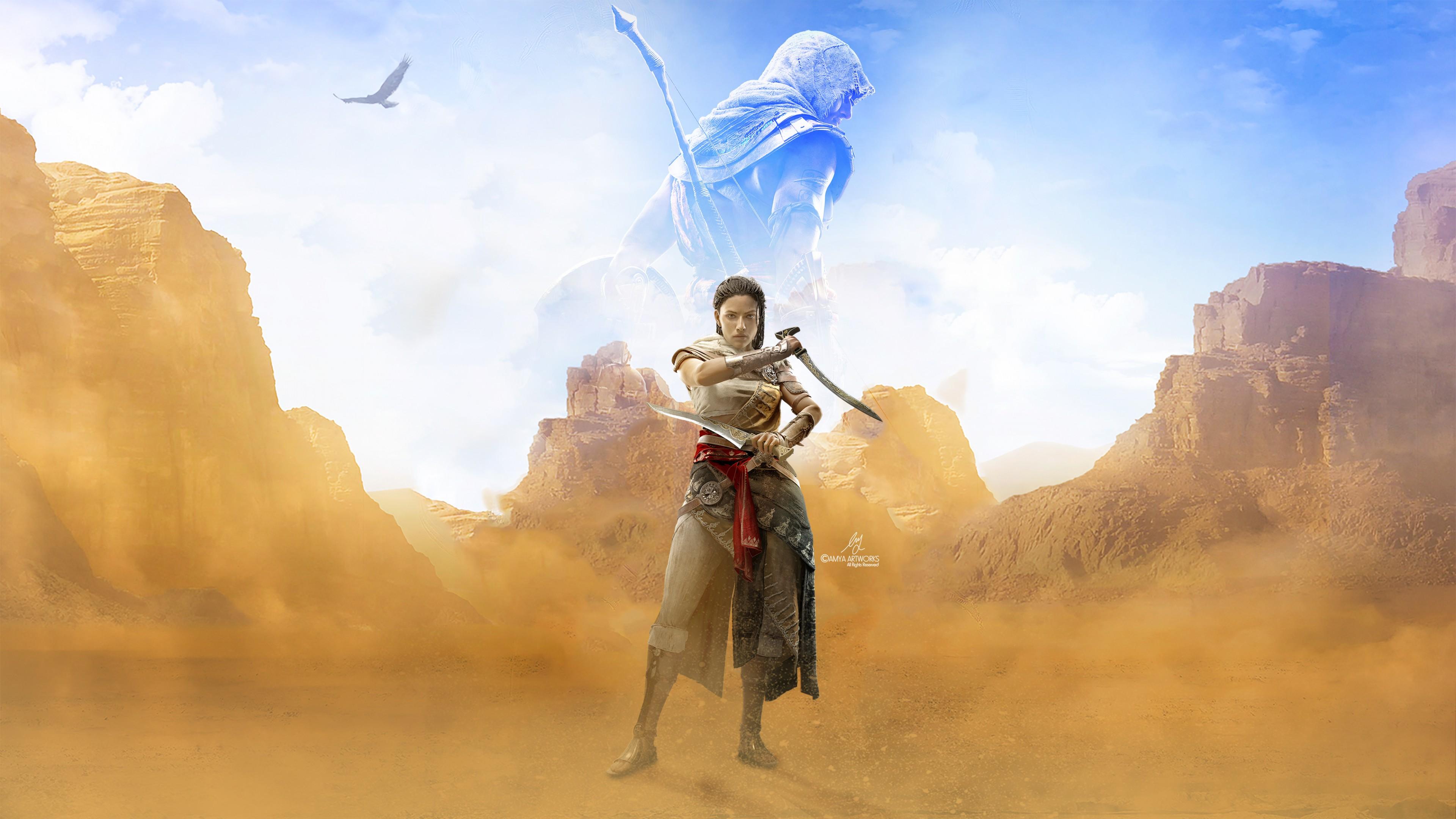 Вооруженная девушка-воин в пустыне среди гор ,а на небосклоне образ спартанца с лучником