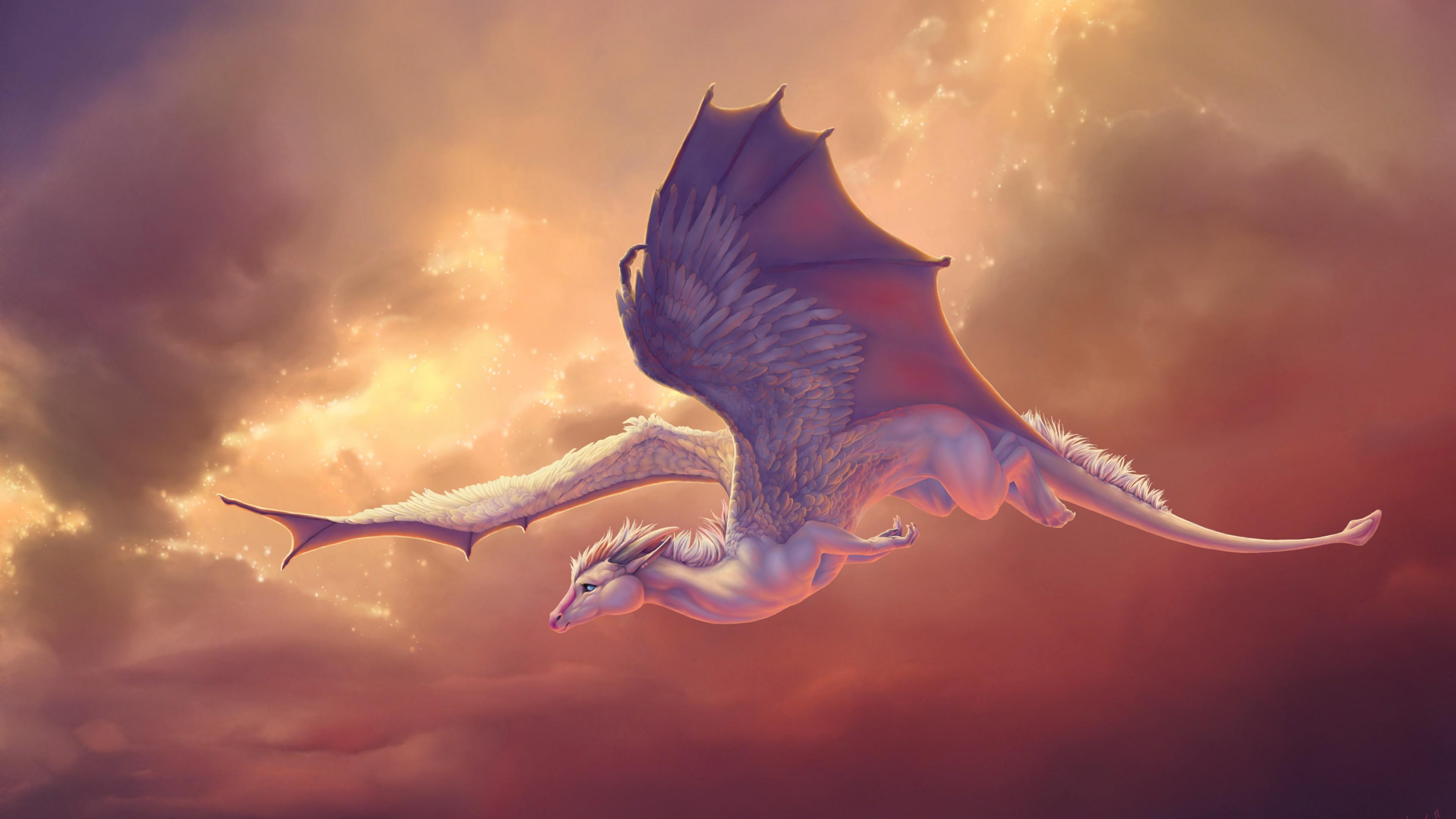 Розово-красные распахнутые крылья дракона в огненных облаках