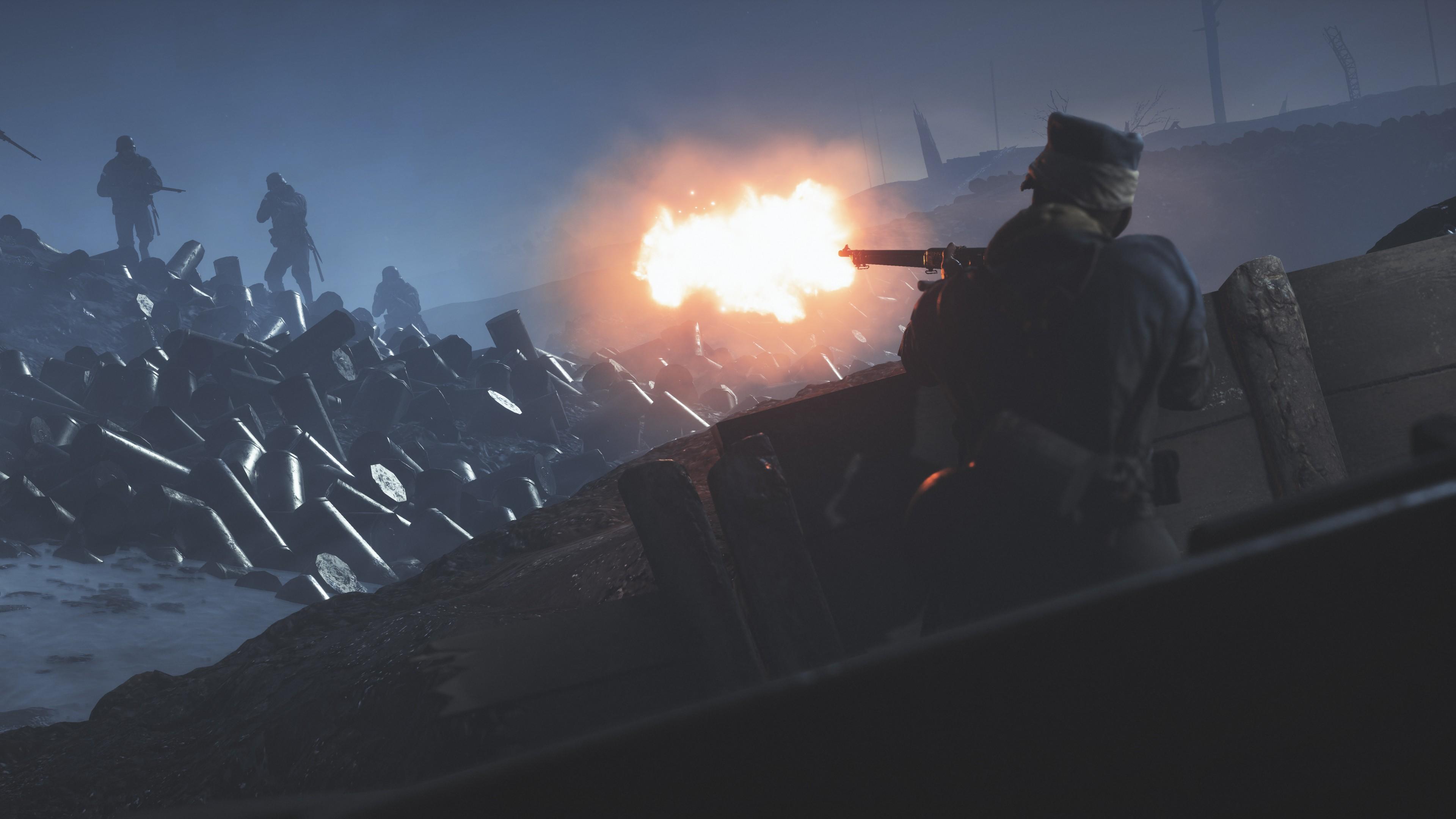 Ночное сражение среди баррикад и огненными выстрелами из пулемета