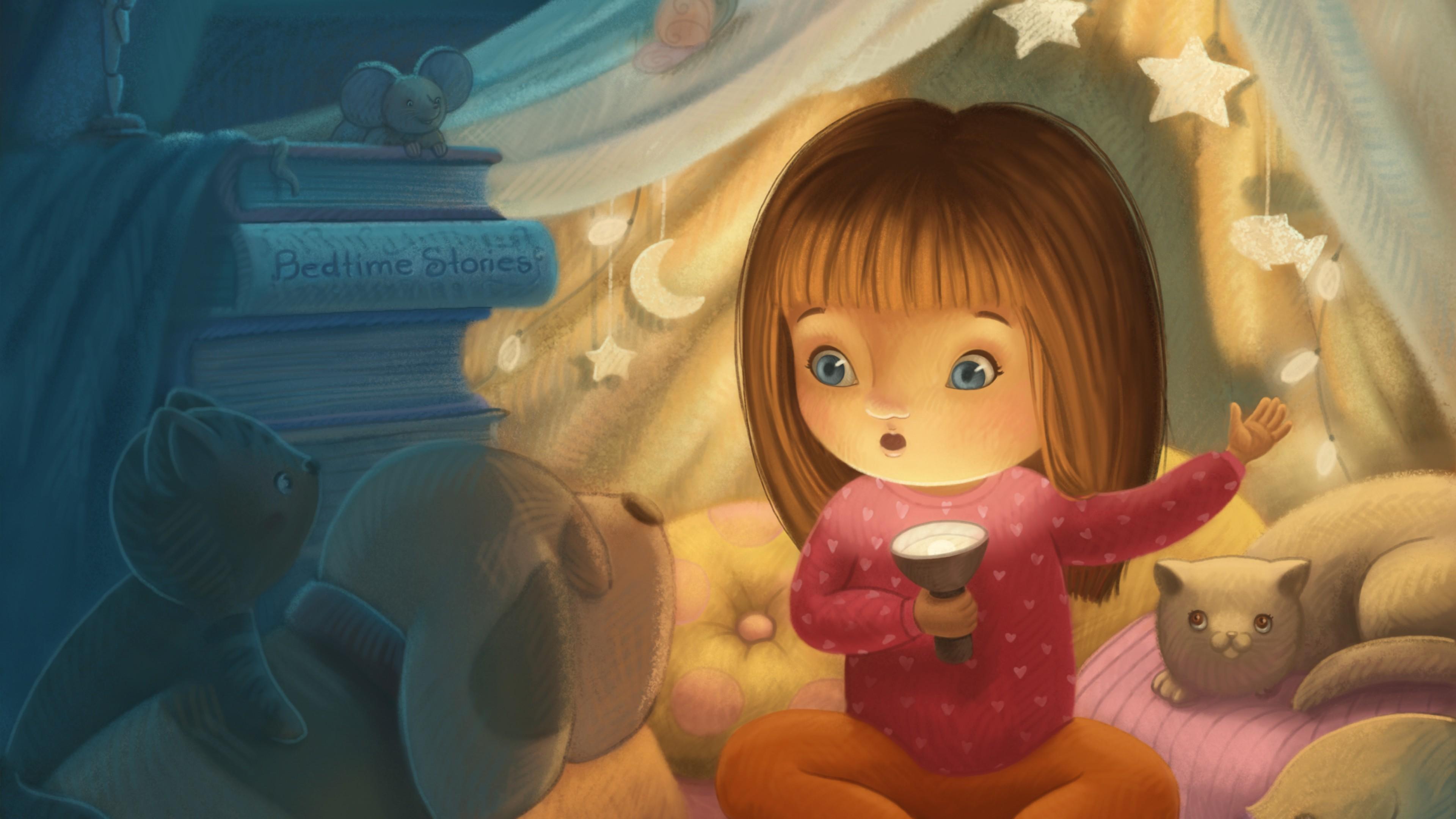 Девочка с фонарем в звездном домике с кошкой и собакой