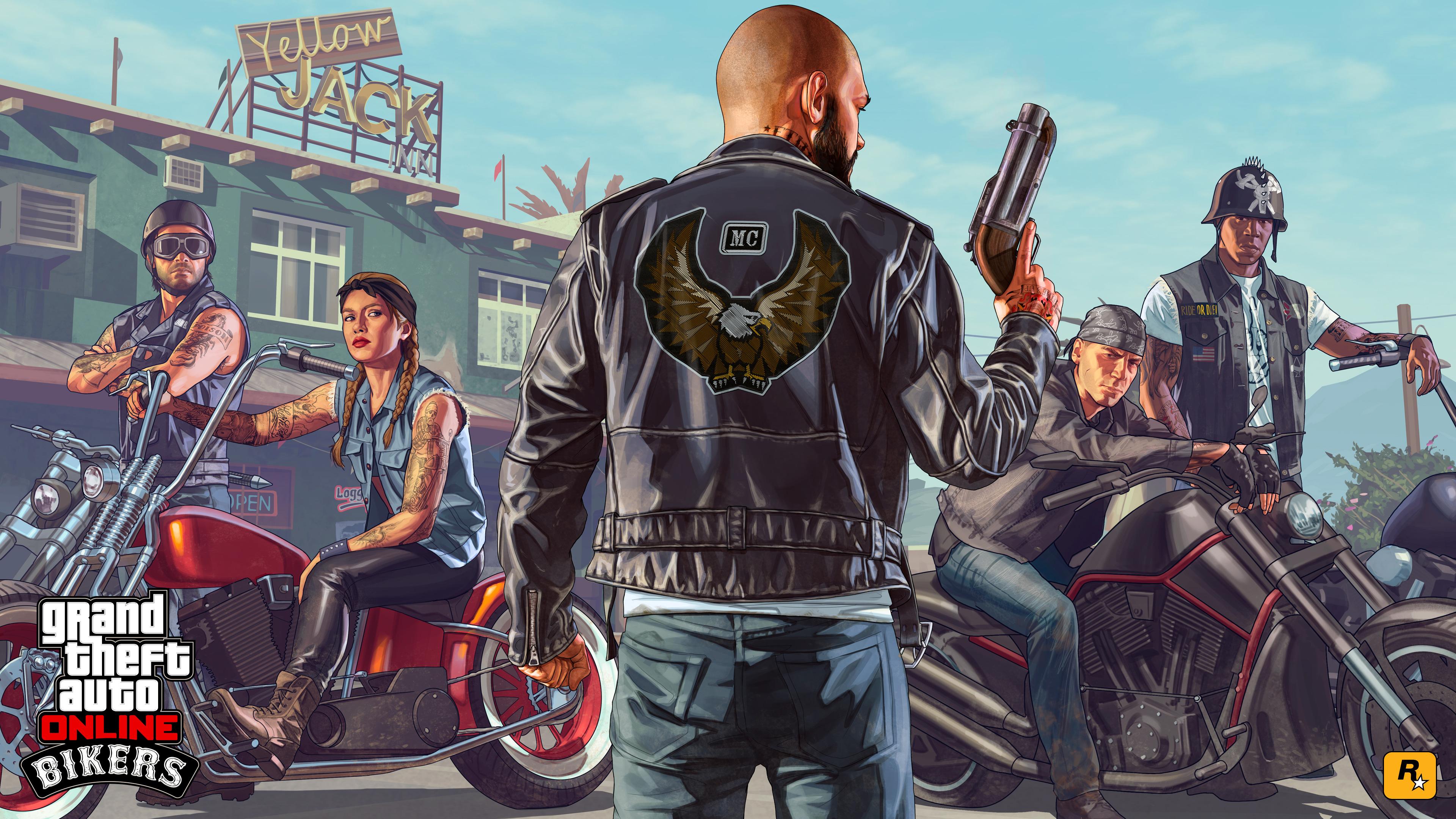 Автомобильный вор с оружием и друзьями на мотоциклах