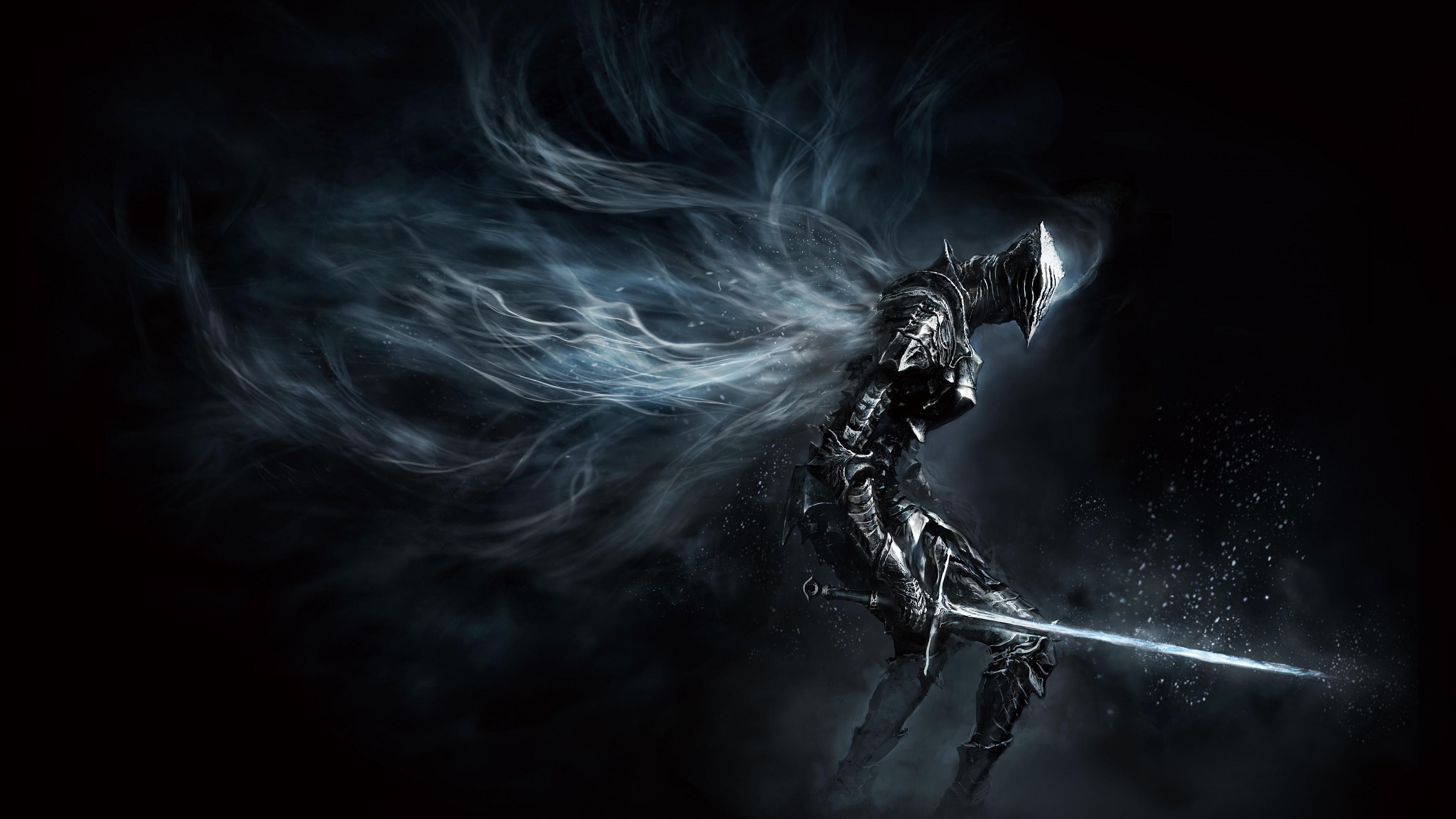 Воин в доспехах и сверкающим мечом  во вселенной среди звезд