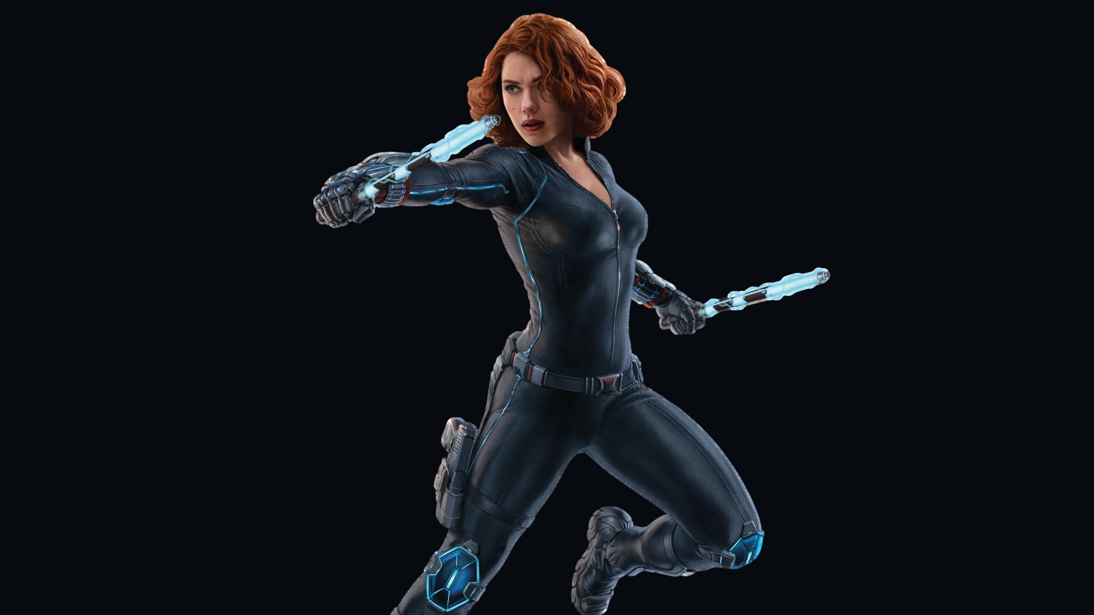 Героиня-Черной вдовы в защитном костюме и светящимся неоновым светом оружием