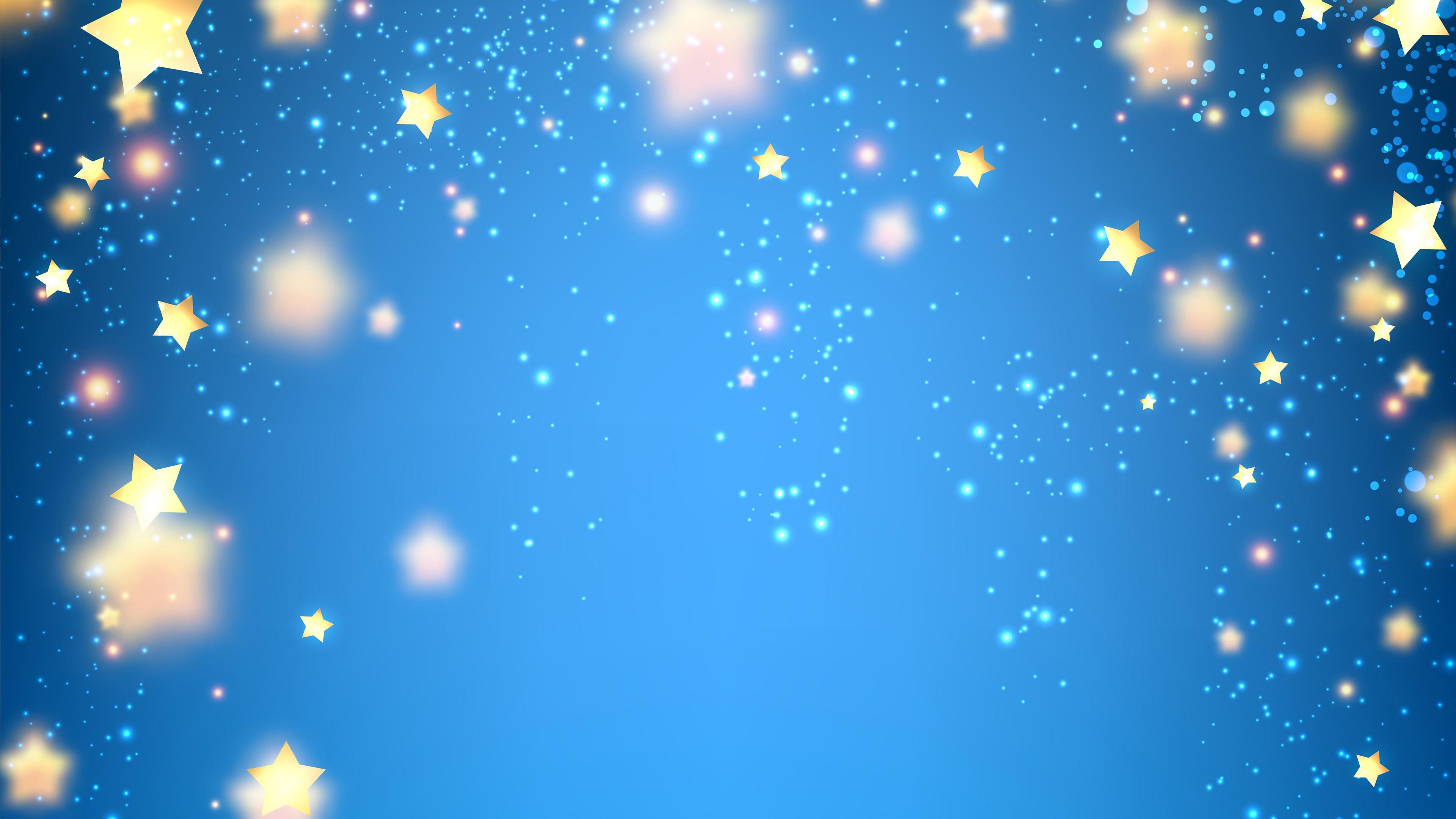 Золотые сверкающие звезды и воздушные шары в синем небе