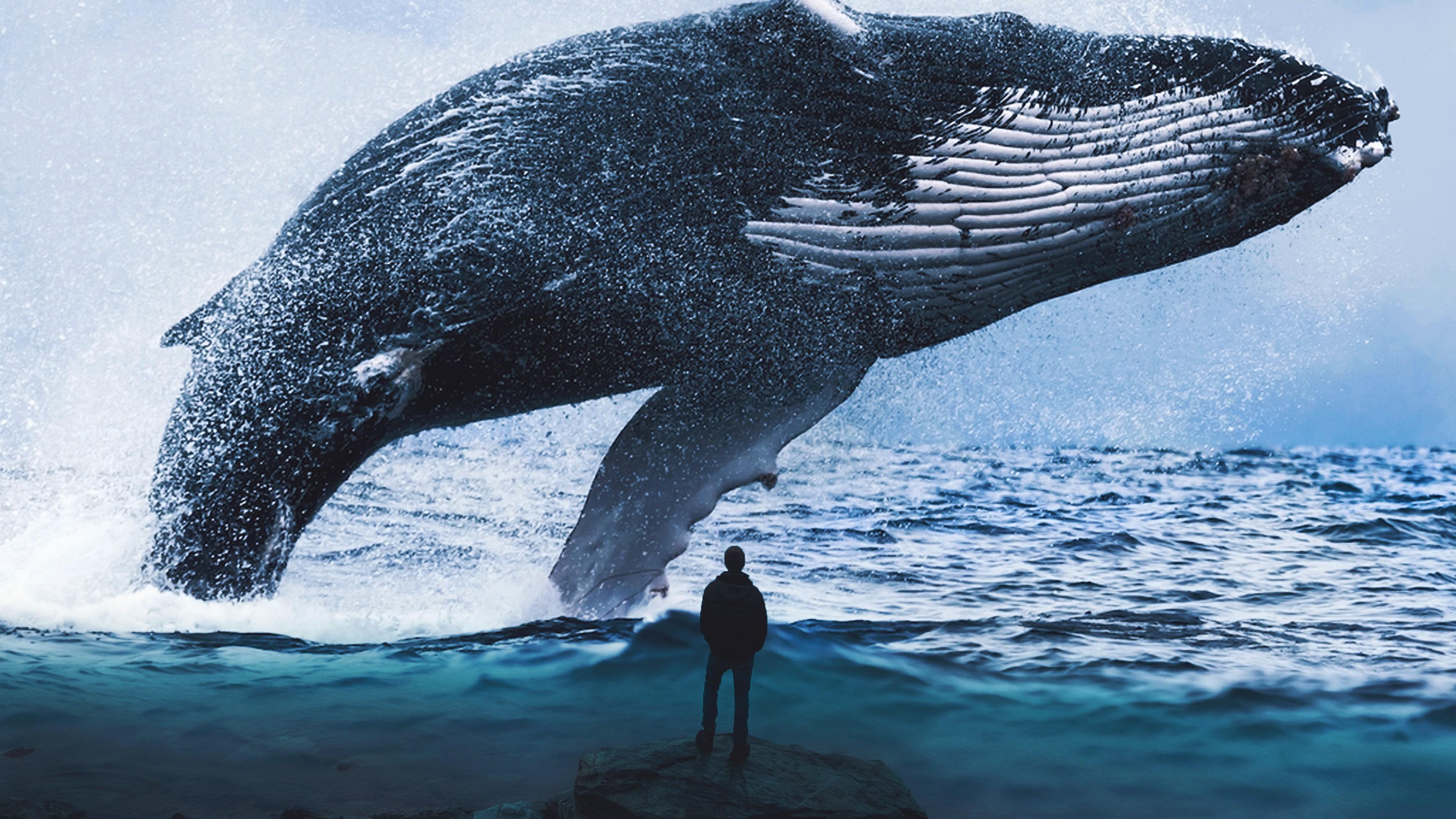 Морской гигант-синий кит вынырнувший из изумрудно-синих глубин океана