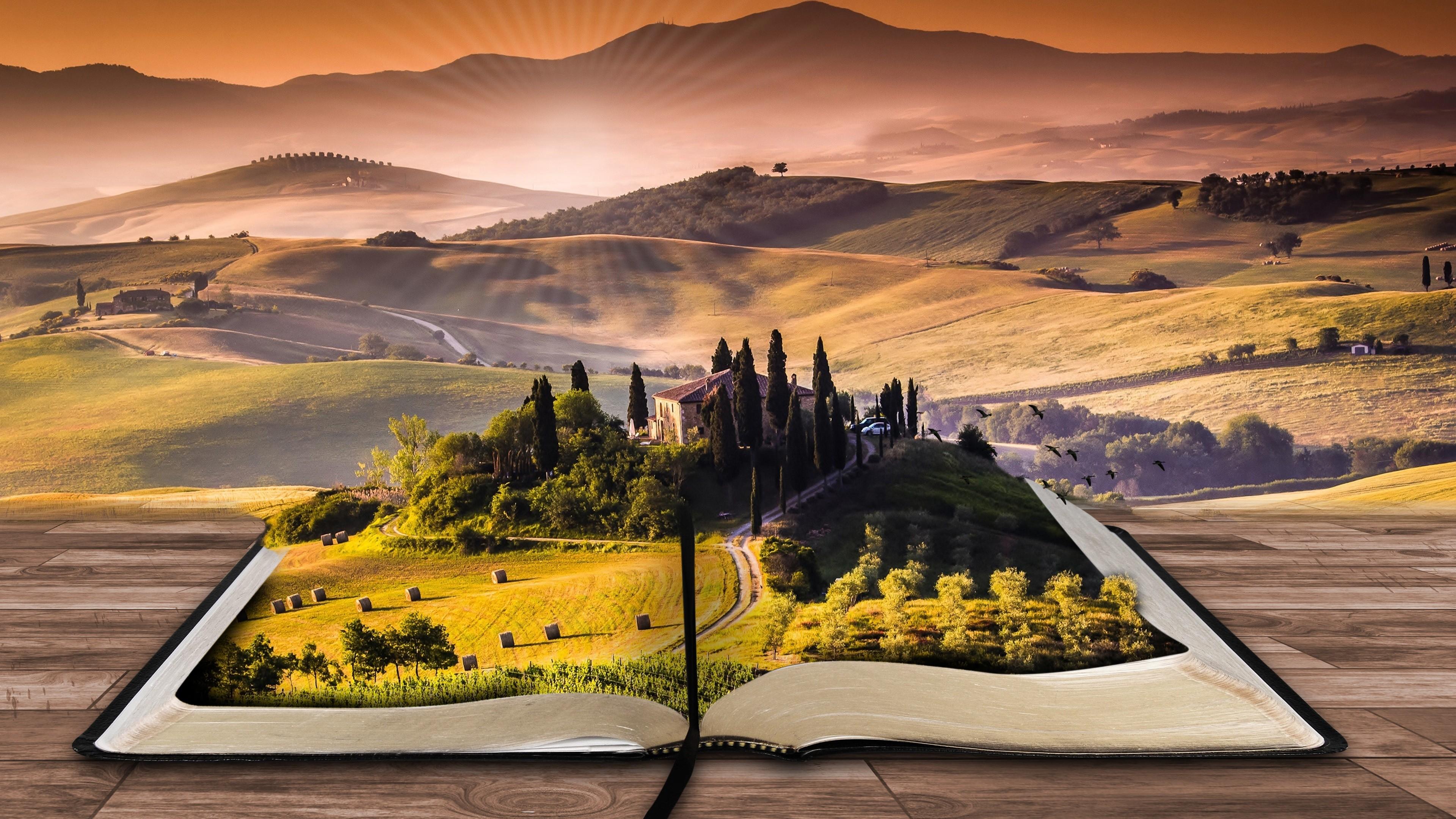Ландшафтный дизайн -искусство в виде открытой чудесной книги на фоне гор и холмов