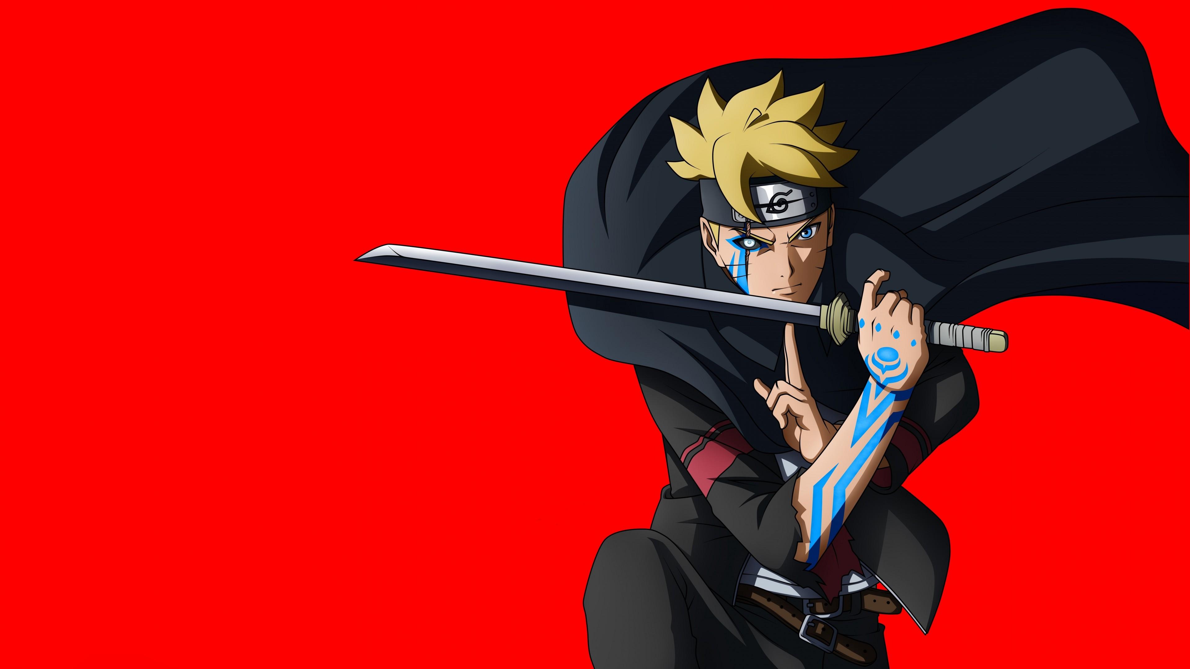 Главный герой аниме с ярко-желтыми волосами в черном костюме с мечом на красном фоне