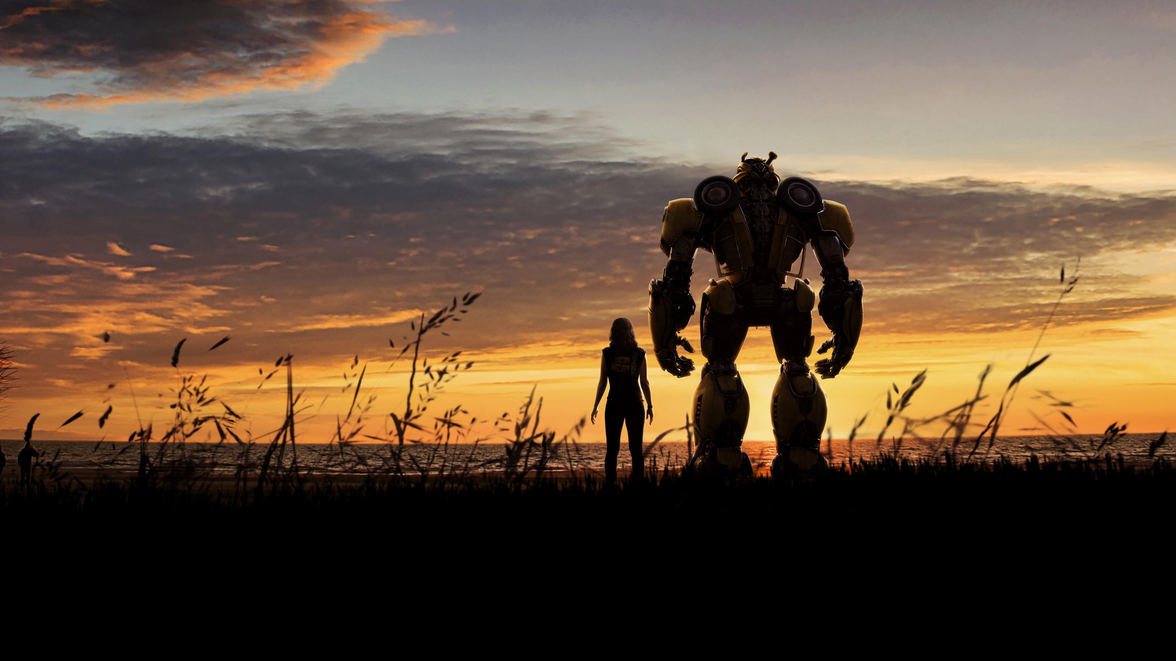 Девушка и робот  в золотых отблесках солнечных лучей на небосводе