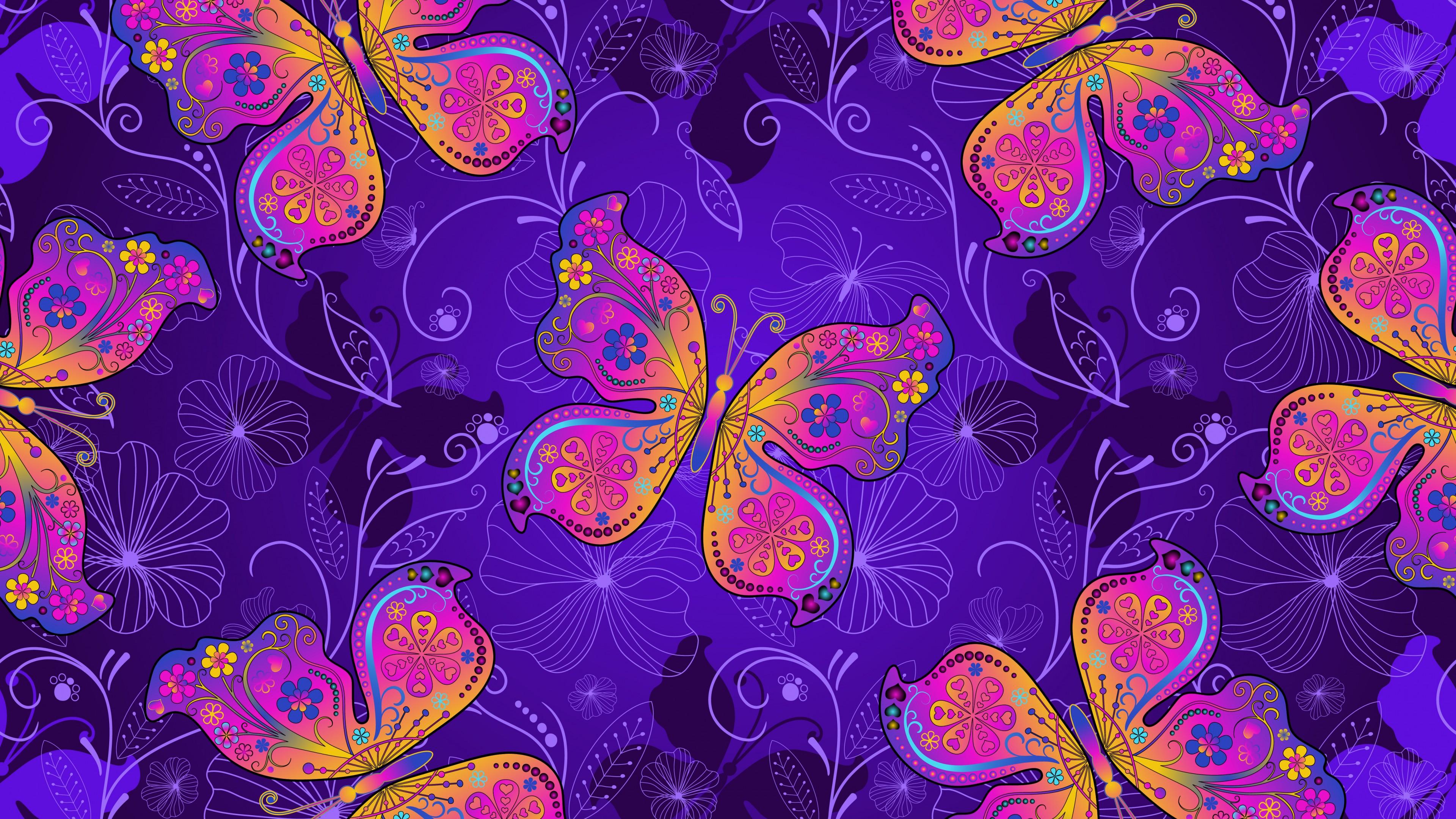 Фоновый рисунок бабочки и цветы в яркой цветовой палитре