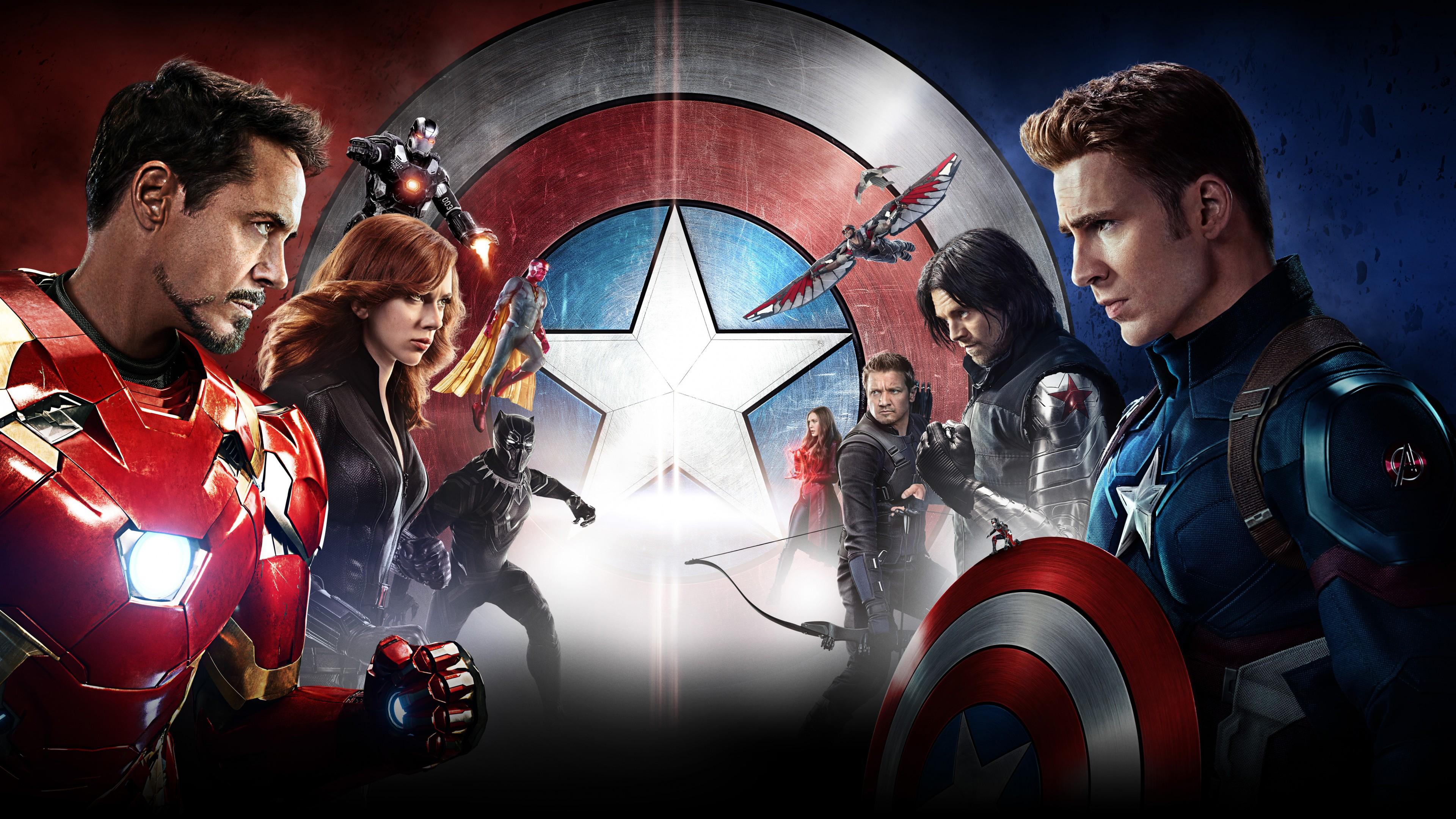 Главные герои на фоне красно-синего щита с белой блестящей звездой