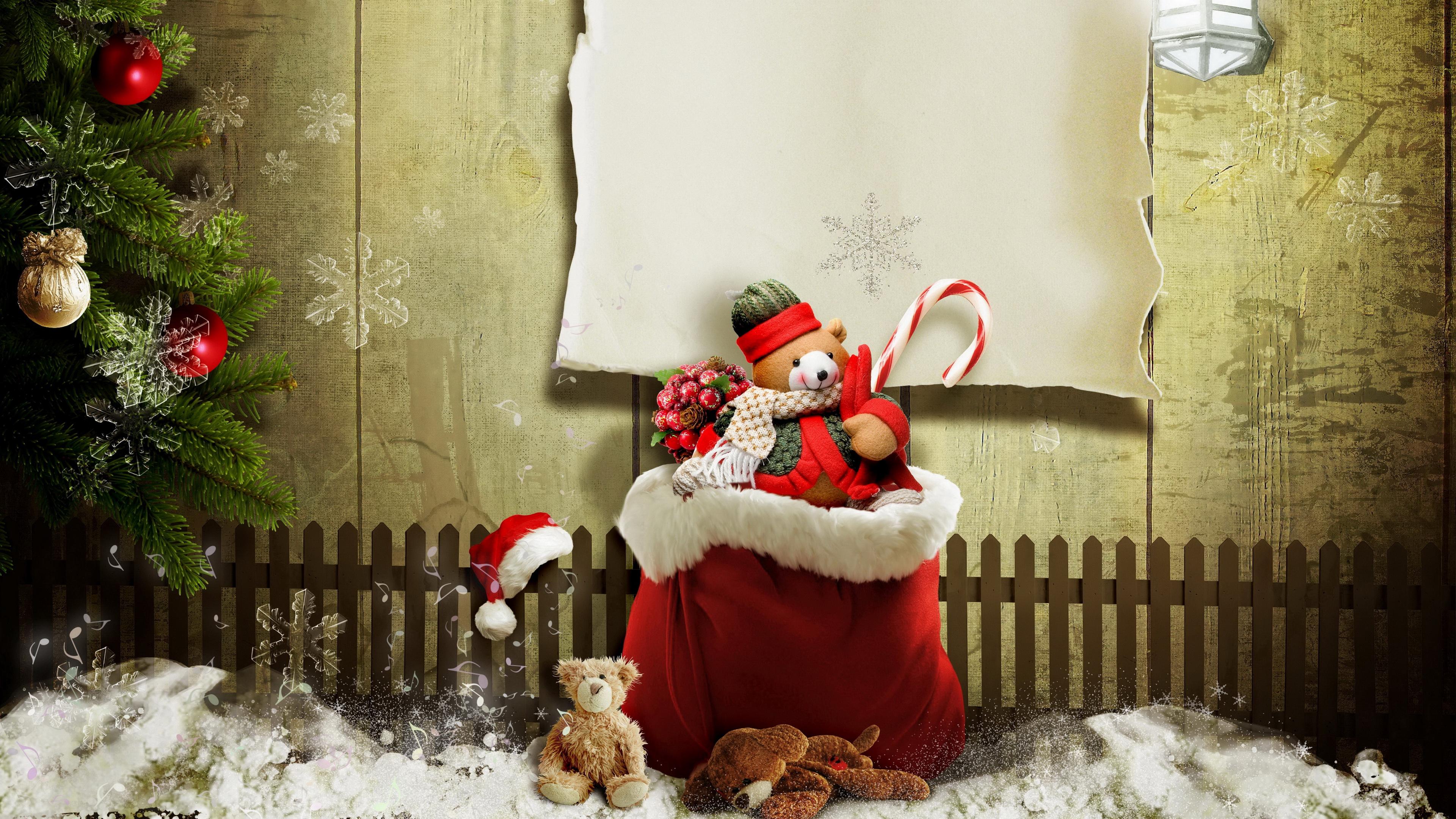 Зима,снег,новогодняя елка,мешок с подарками-скоро Новый год