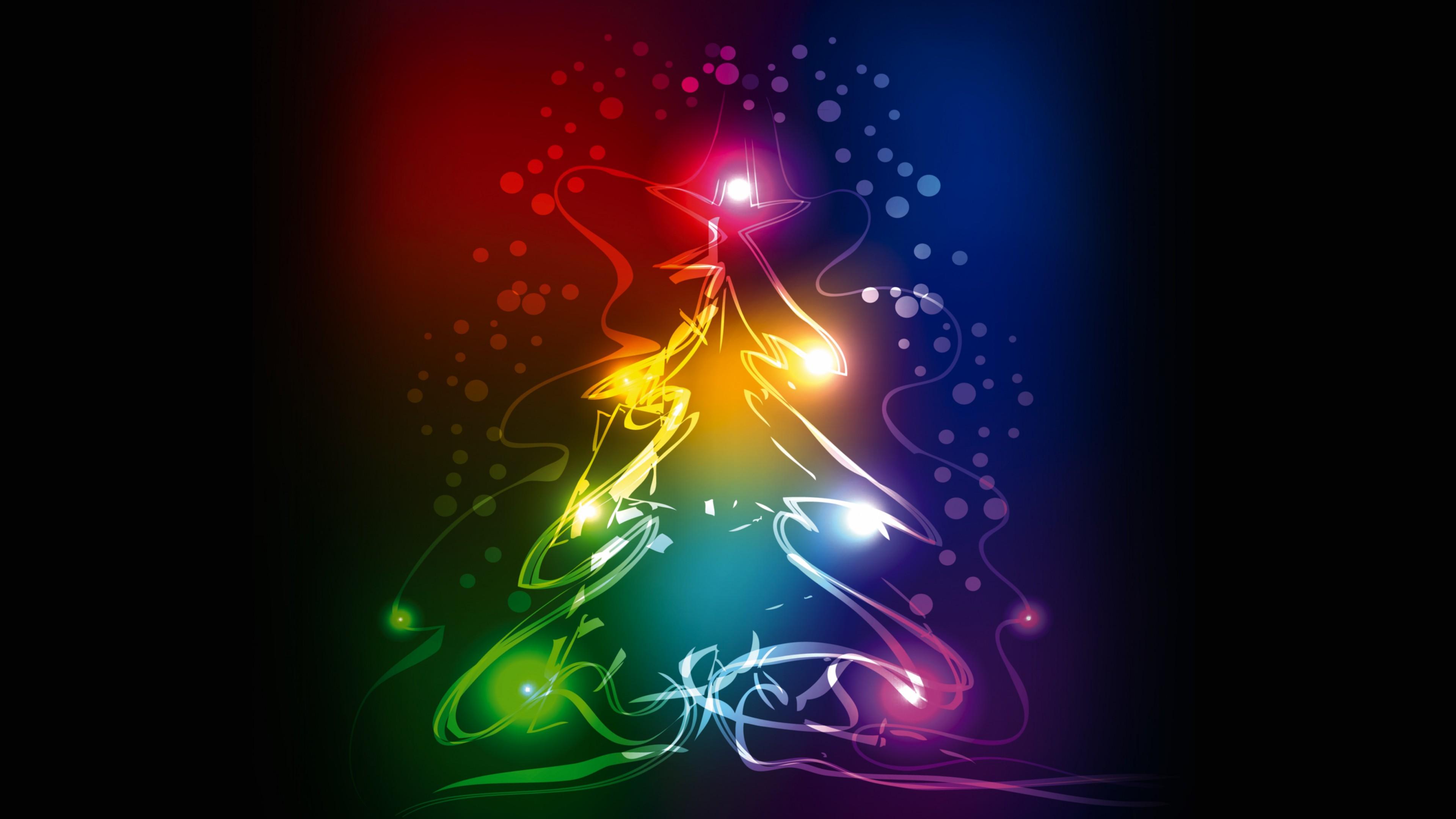 Рисунок Новогодней елки с разноцветными неоновыми шарами и блестящими в темноте огнями