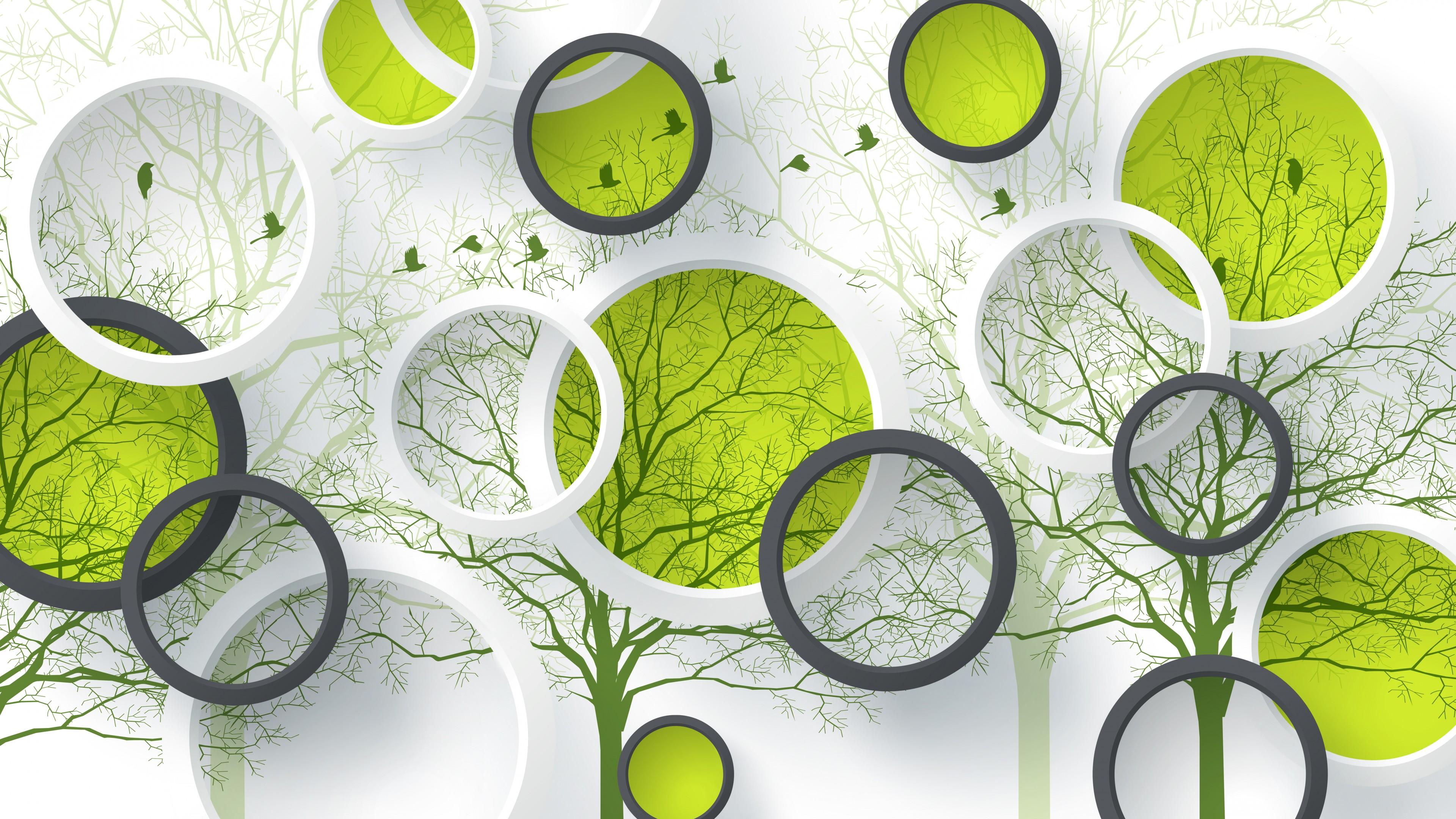 Рисунок деревья и птицы в зеленых и белых кольцах