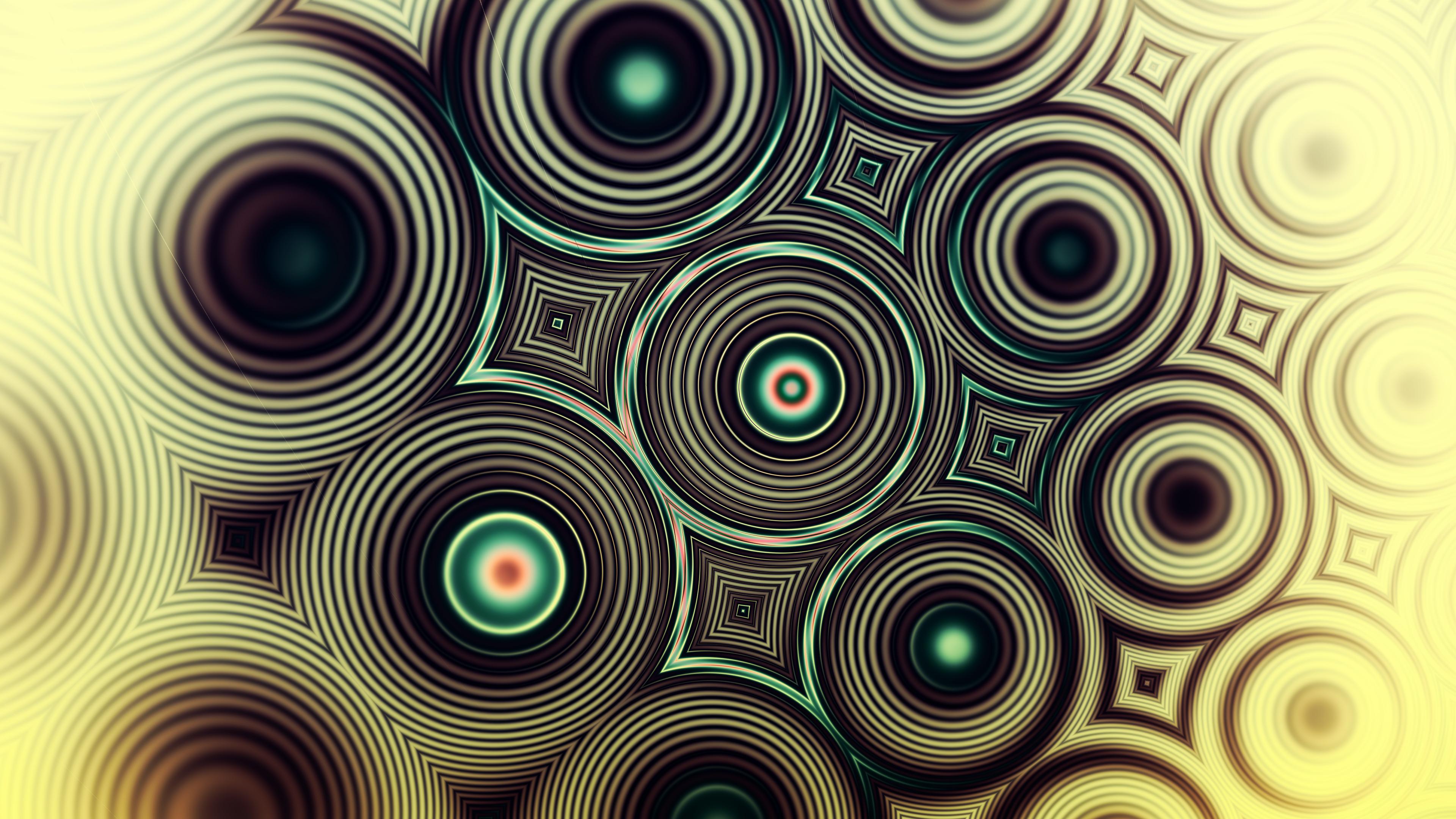 Фоновый рисунок Коричневые круги с золотым оттенком  и зелеными узорами