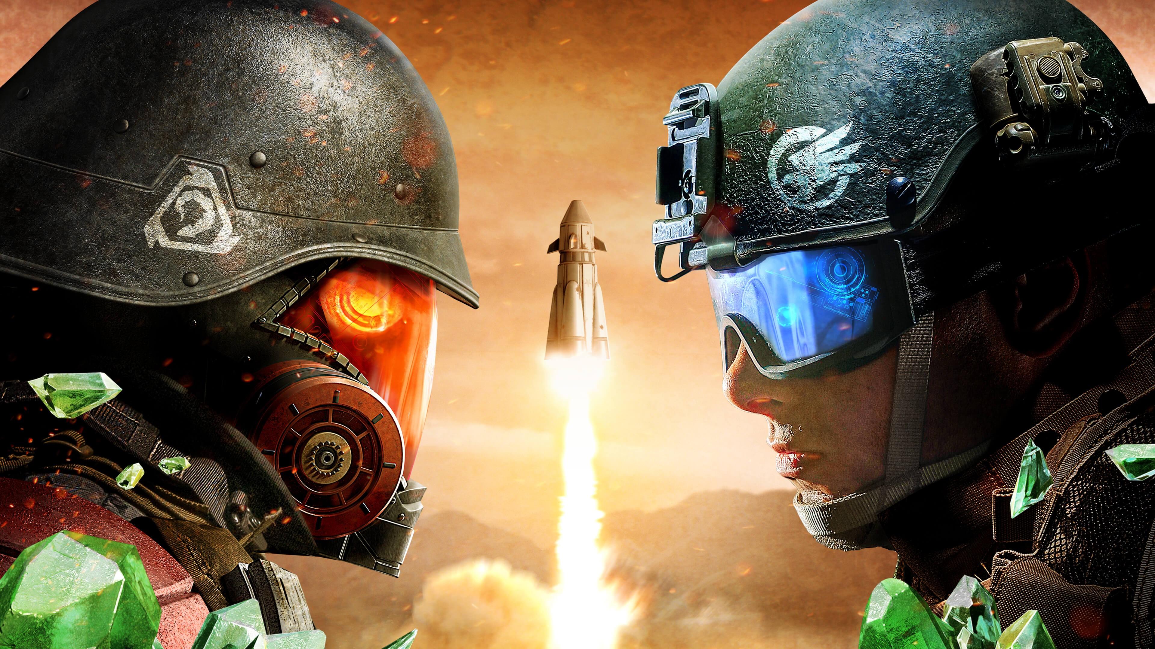 Космическая ракета , битва воинов  в касках и защитных очках в звездной Вселенной