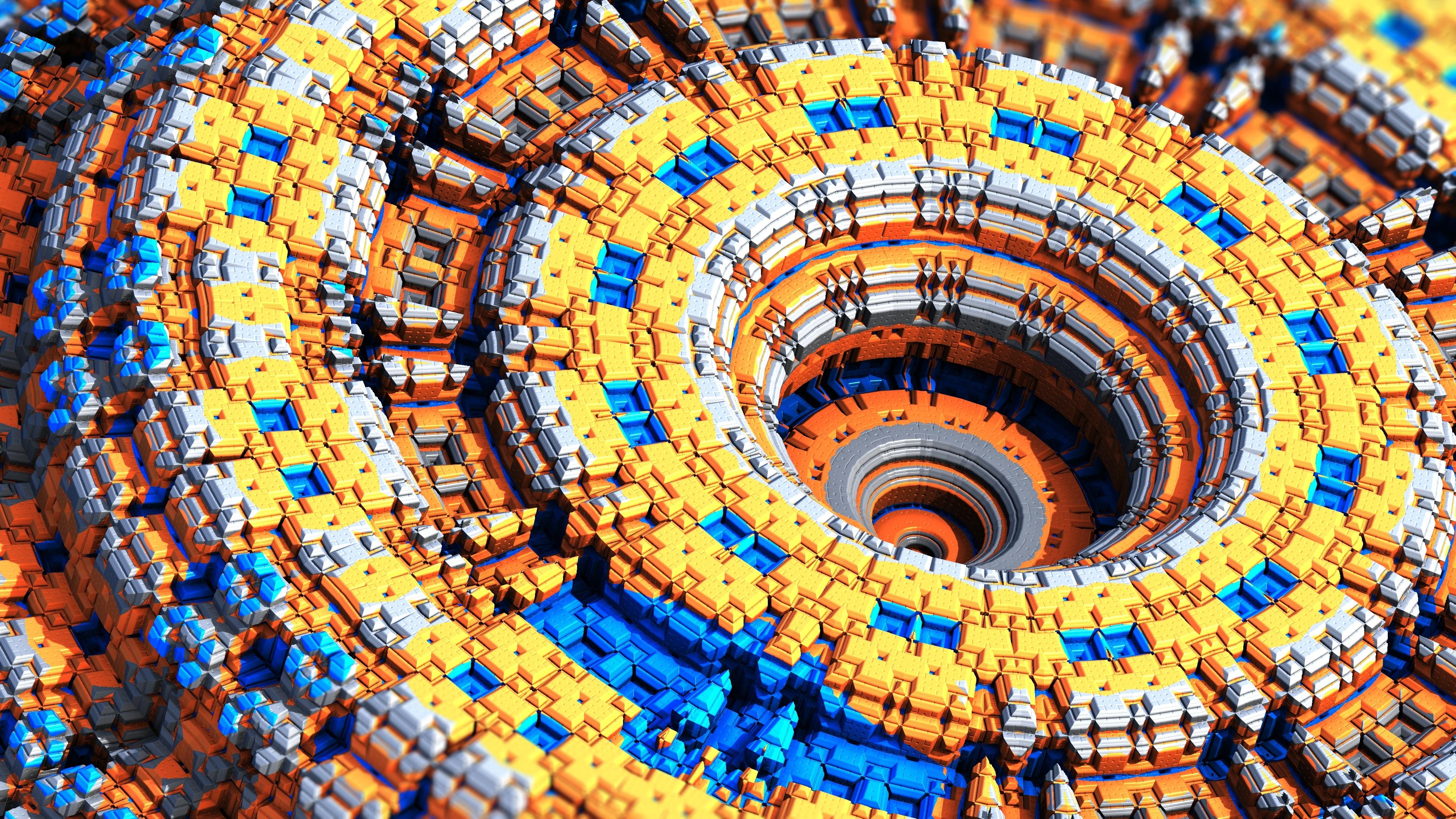Большое колесо из мельчайших деталей конструктора желтый,синий, коричневый
