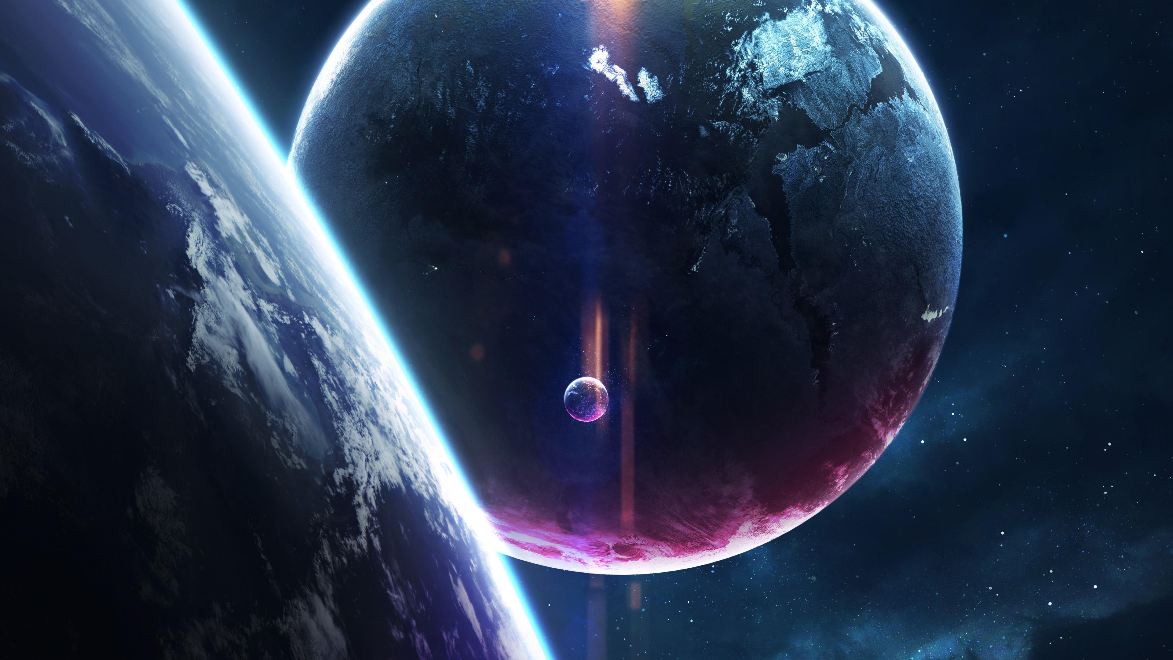 Земля и ее космический спутник Луна в отблесках,бликах звездной Вселенной