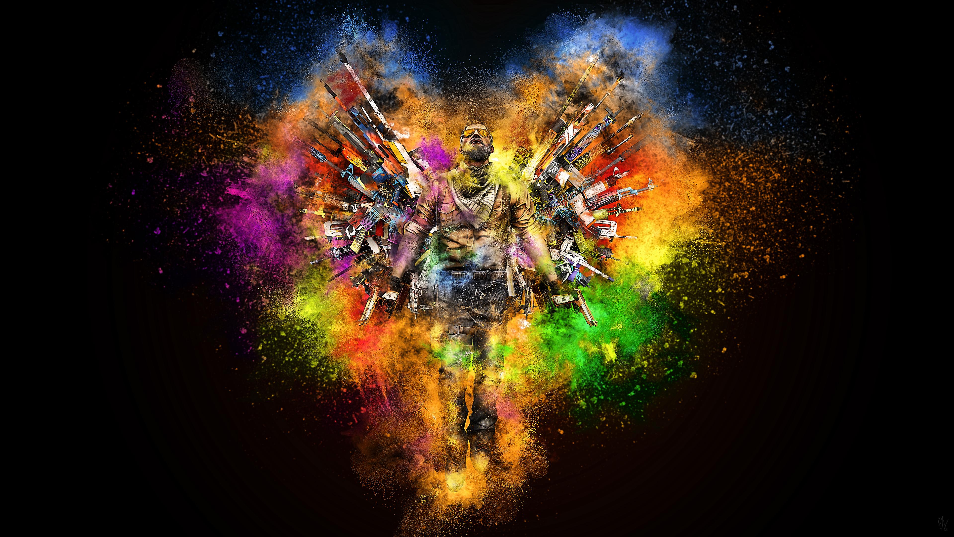 Цветовая палитра цветов на черном фоне- Герой-воин с оружием и стрелами