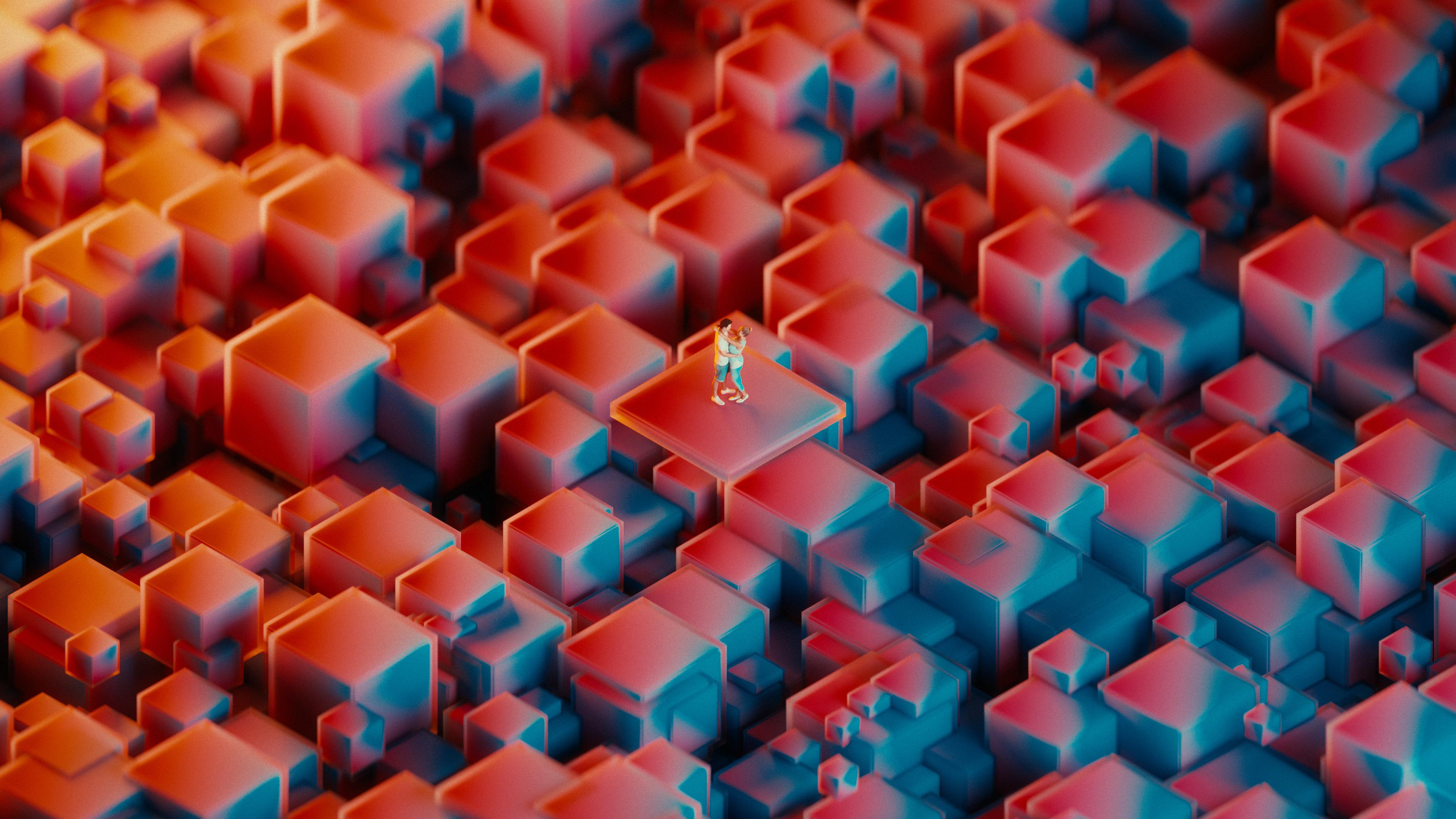 Красные геометрические кубы с танцующими в оттенках неонового света