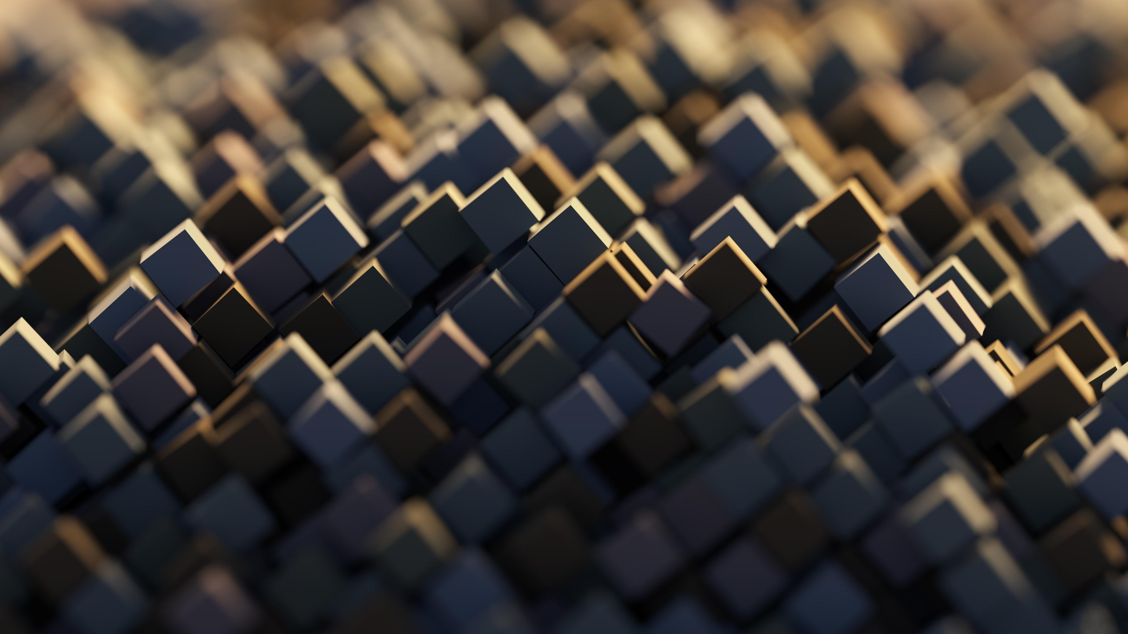 Геометрические грани кубиков в отблесках и бликах солнечного света