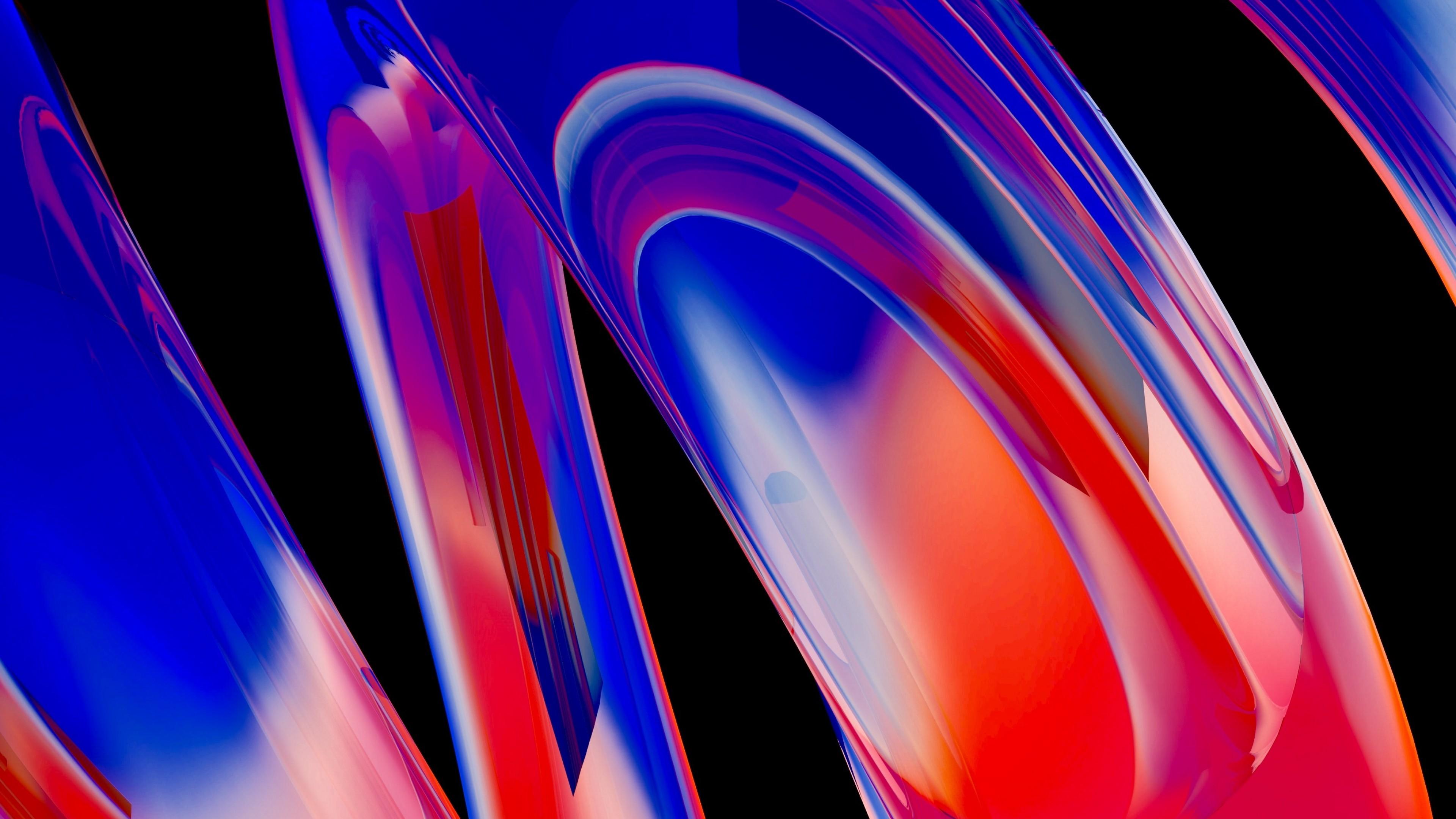 Абстракция-красно-синие размытые спиральные круги на черном фоне