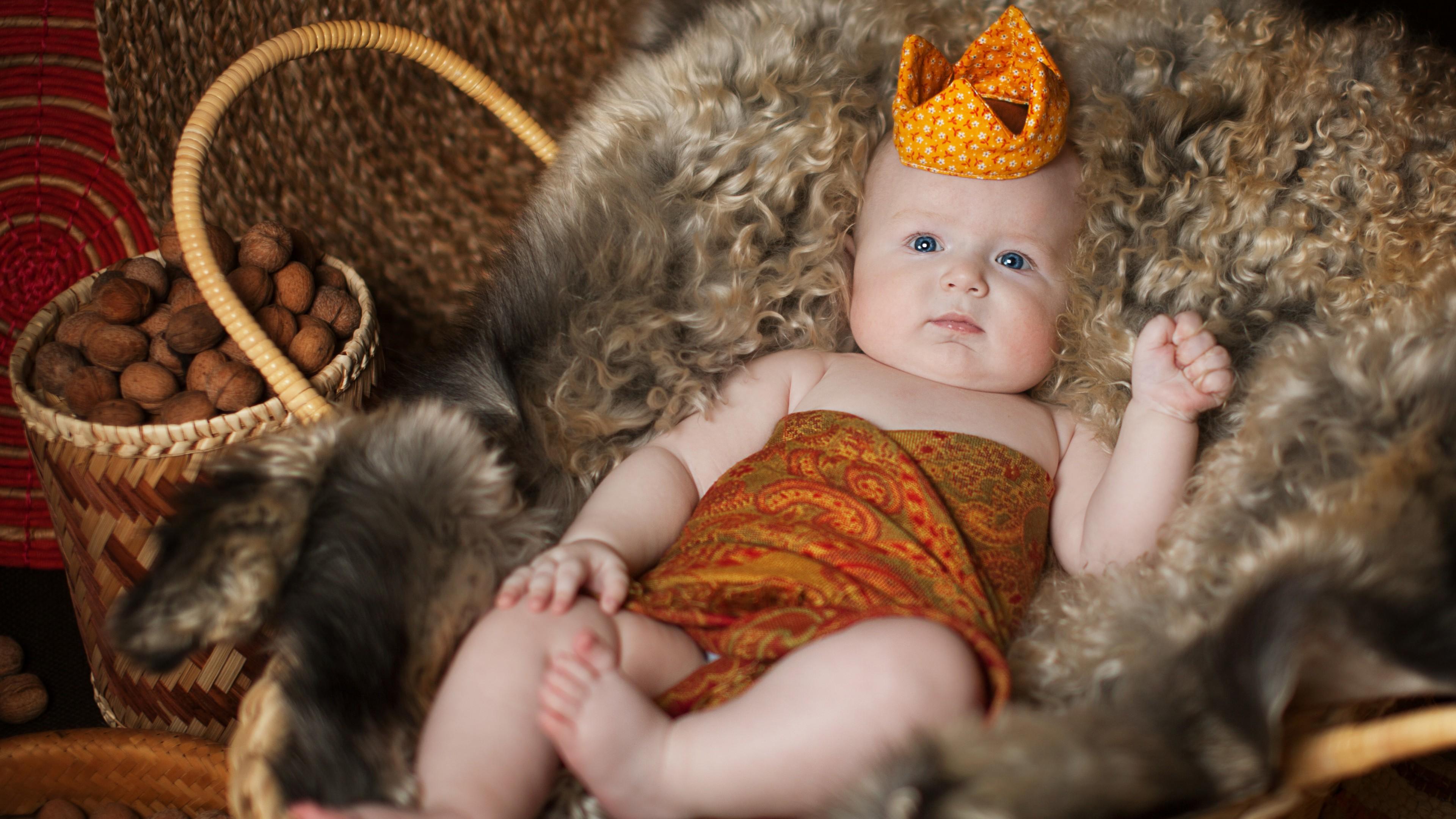 Прелестный малыш в короне и глазками-бусинками в корзине с роскошным мехом