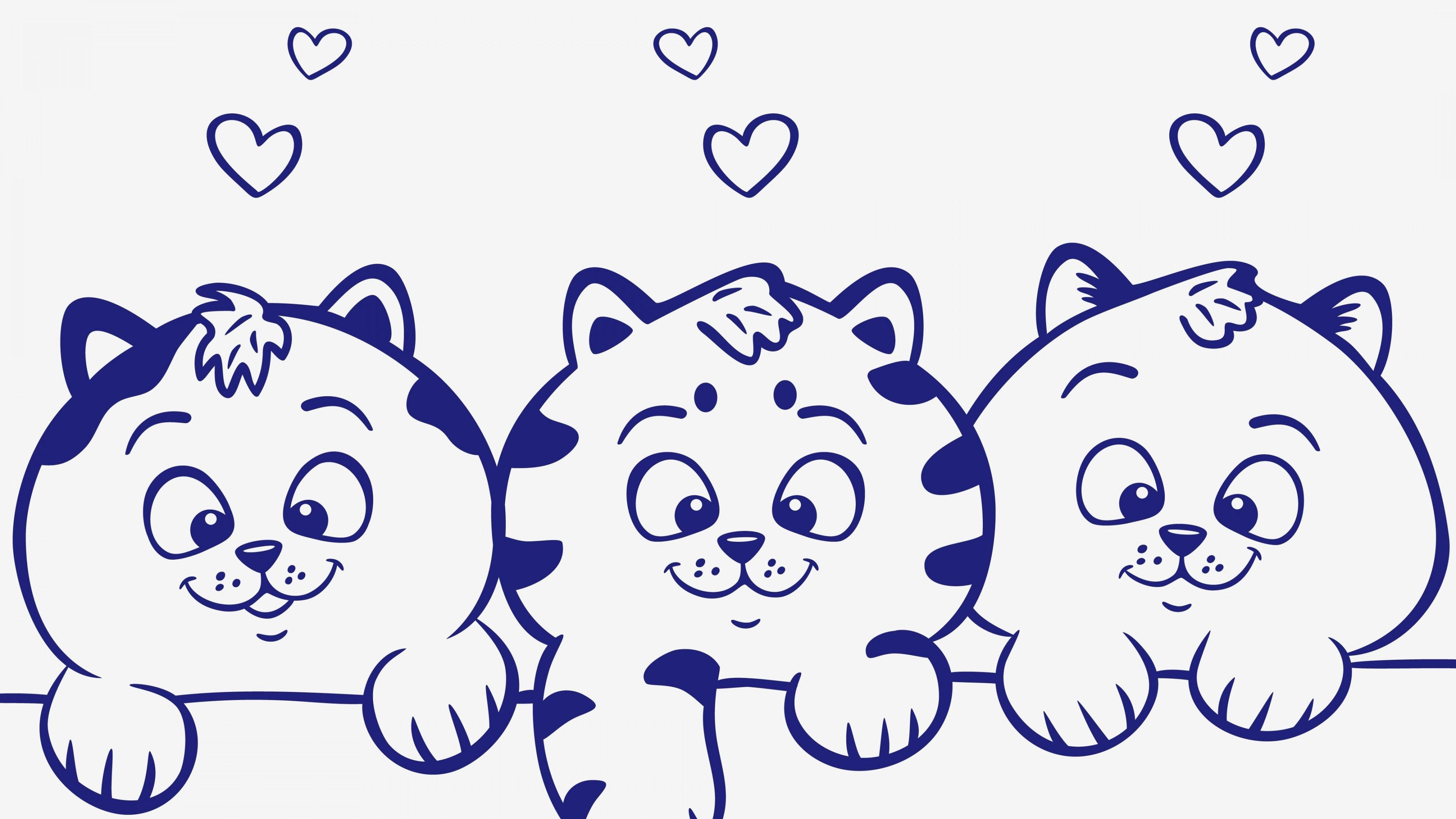 Рисунок милых улыбающихся котят с пушистыми лапками и влюбленными сердечками