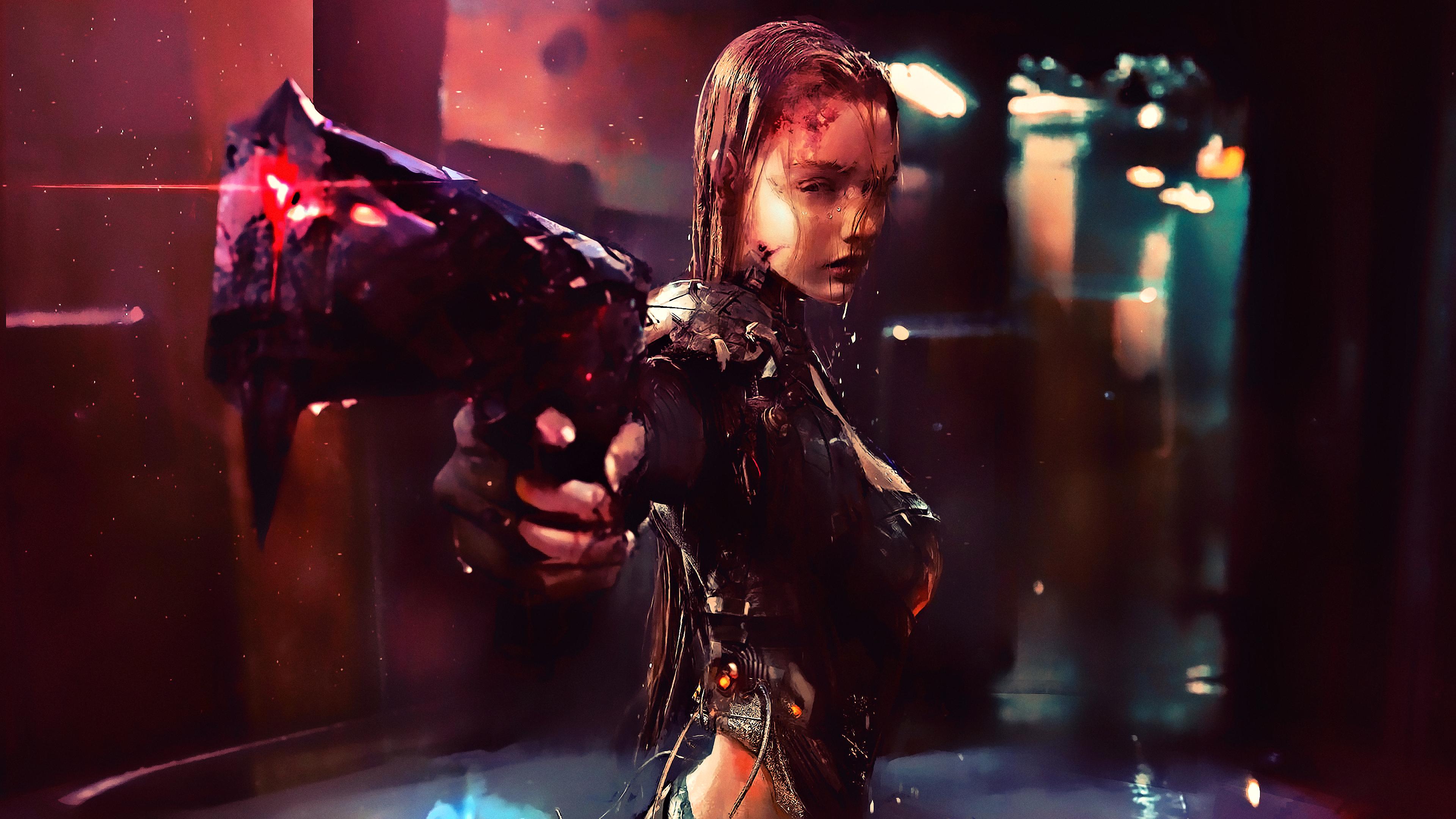 Девушка-воин в одежде из кожи с мокрыми волосами и оружием
