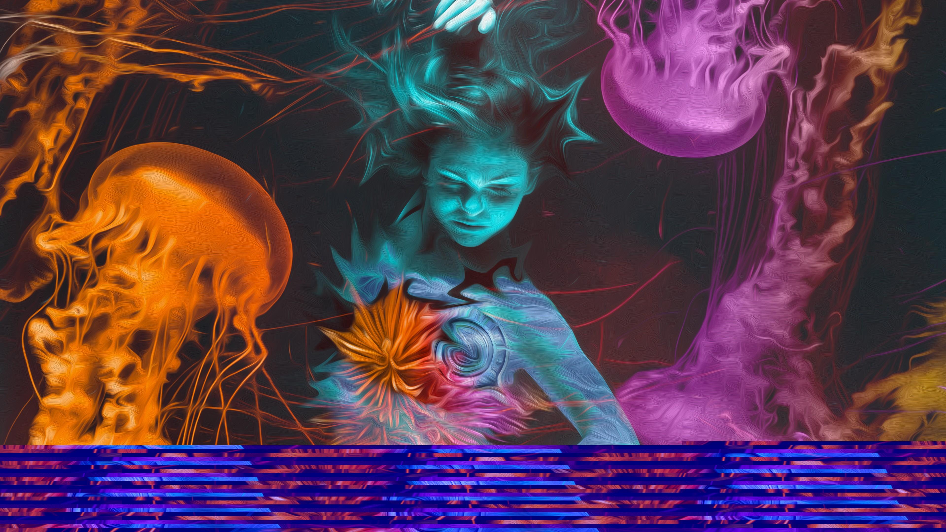 Девушка с бирюзовом лицом на морской глубине среди ее обитателей