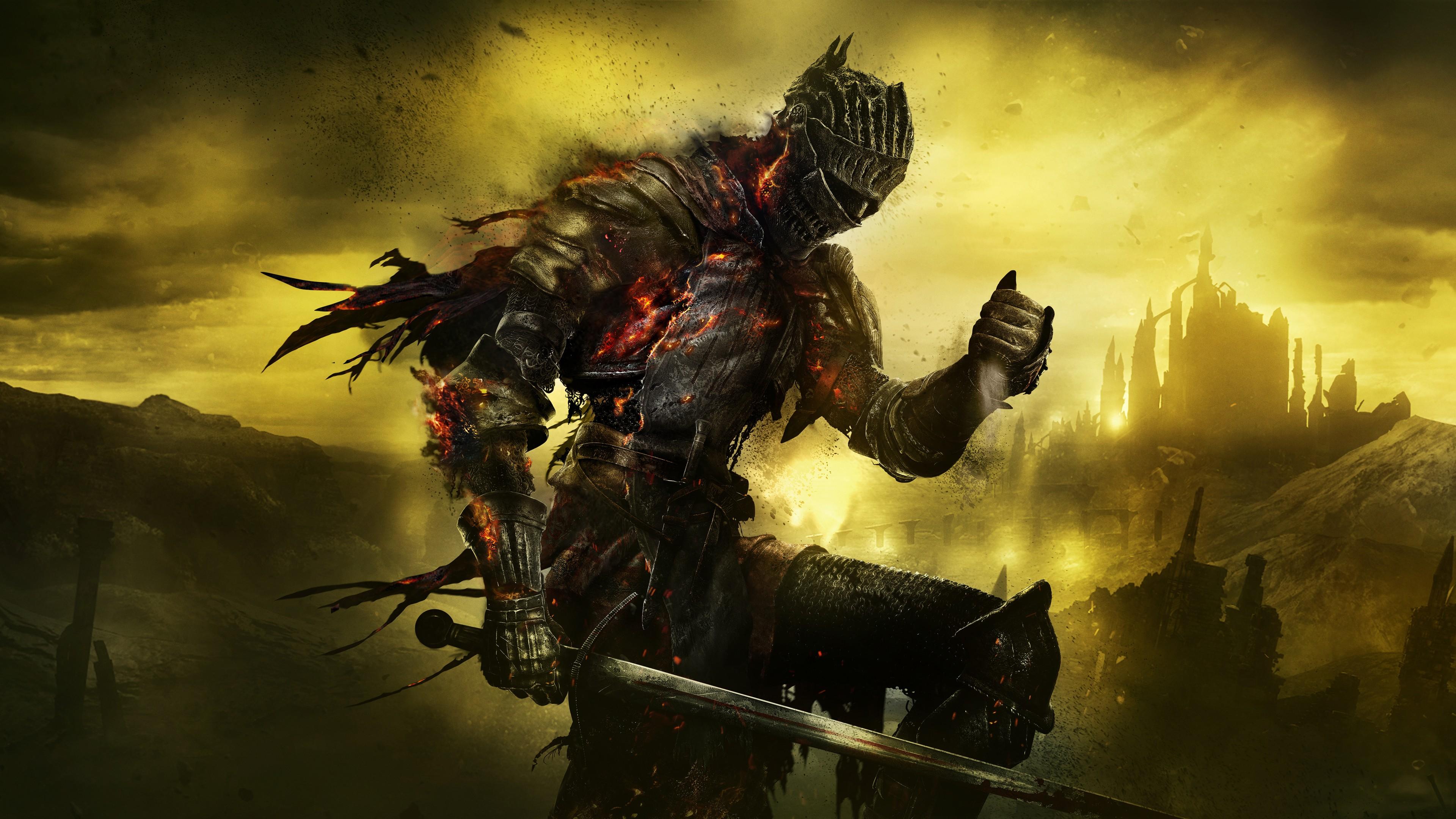 Воин в шлеме,обмундировании,перчатках и мечом на фоне огненных сполохов