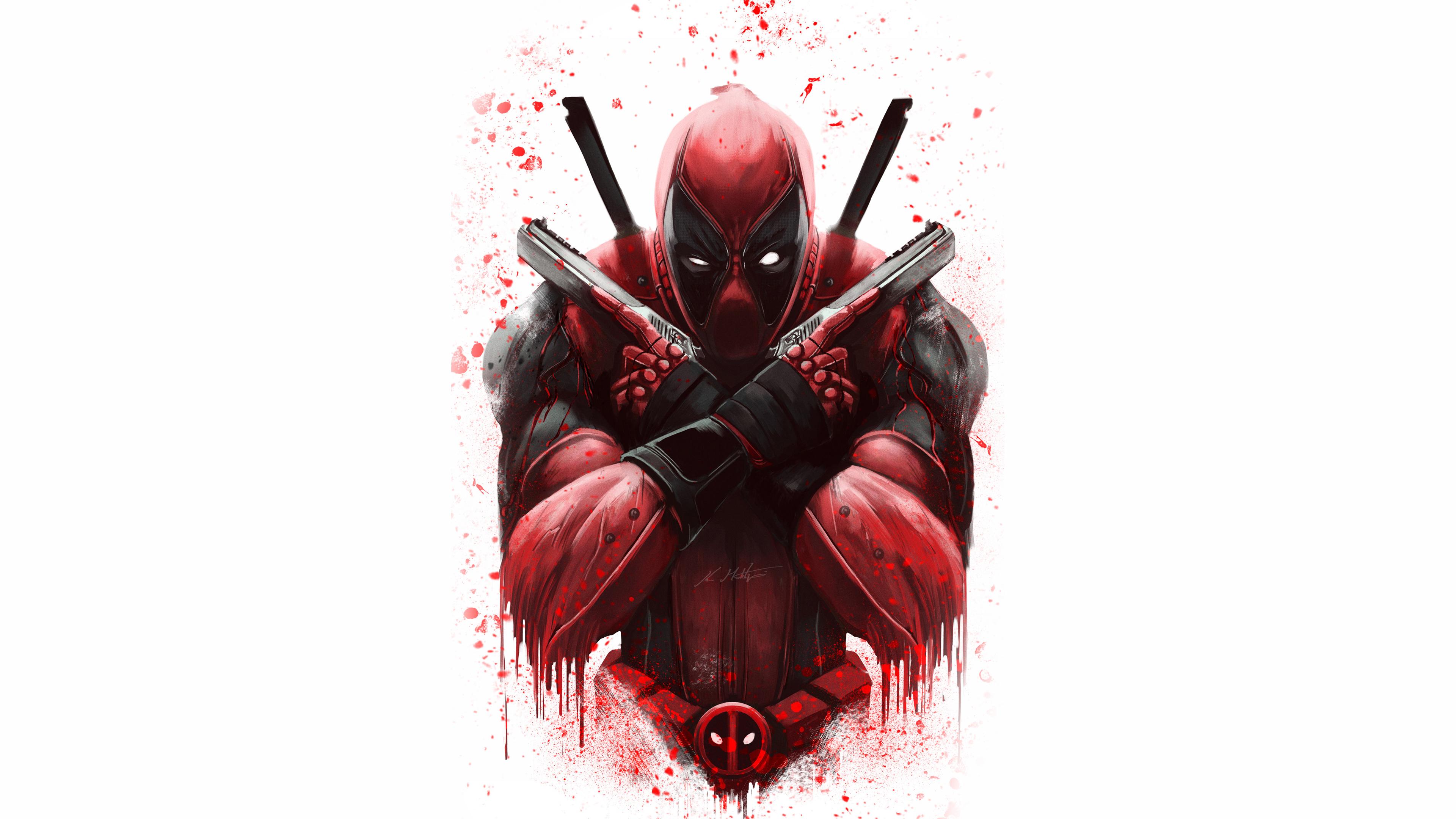 Рисунок персонажа комиксов с окровавленными руками в перчатках и оружием