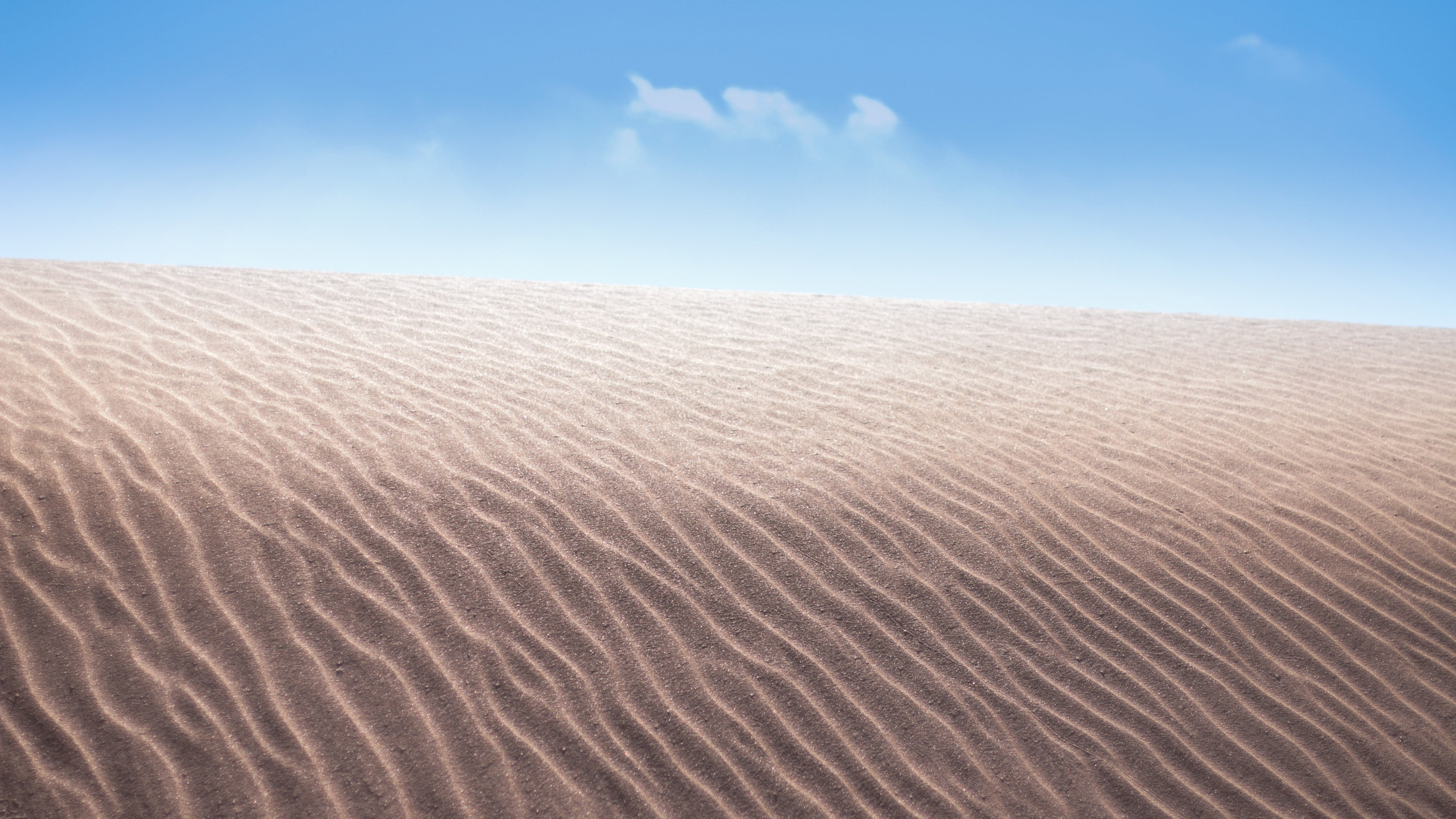 Песчаные узорные грабли дюн под палящими лучами солнца